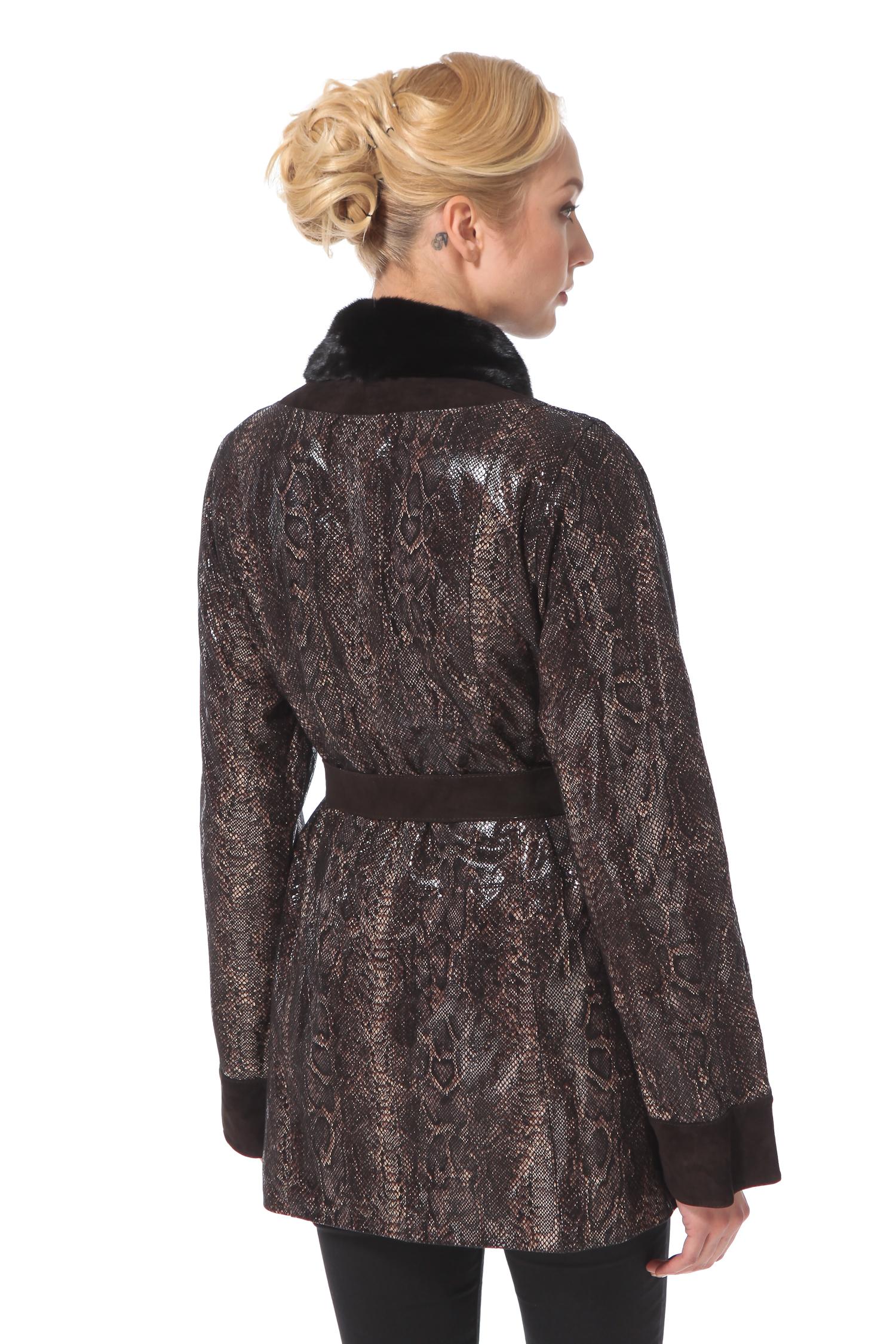 Женская кожаная куртка из натуральной замши с воротником, отделка норка от Московская Меховая Компания