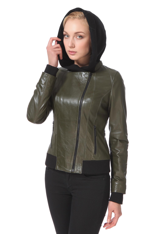 Женская кожаная куртка из натуральной кожи с капюшоном, без отделки<br><br>Воротник: капюшон<br>Длина см: Короткая (51-74 )<br>Материал: Кожа овчина<br>Цвет: зеленый<br>Застежка: на молнии<br>Пол: Женский<br>Размер RU: 46