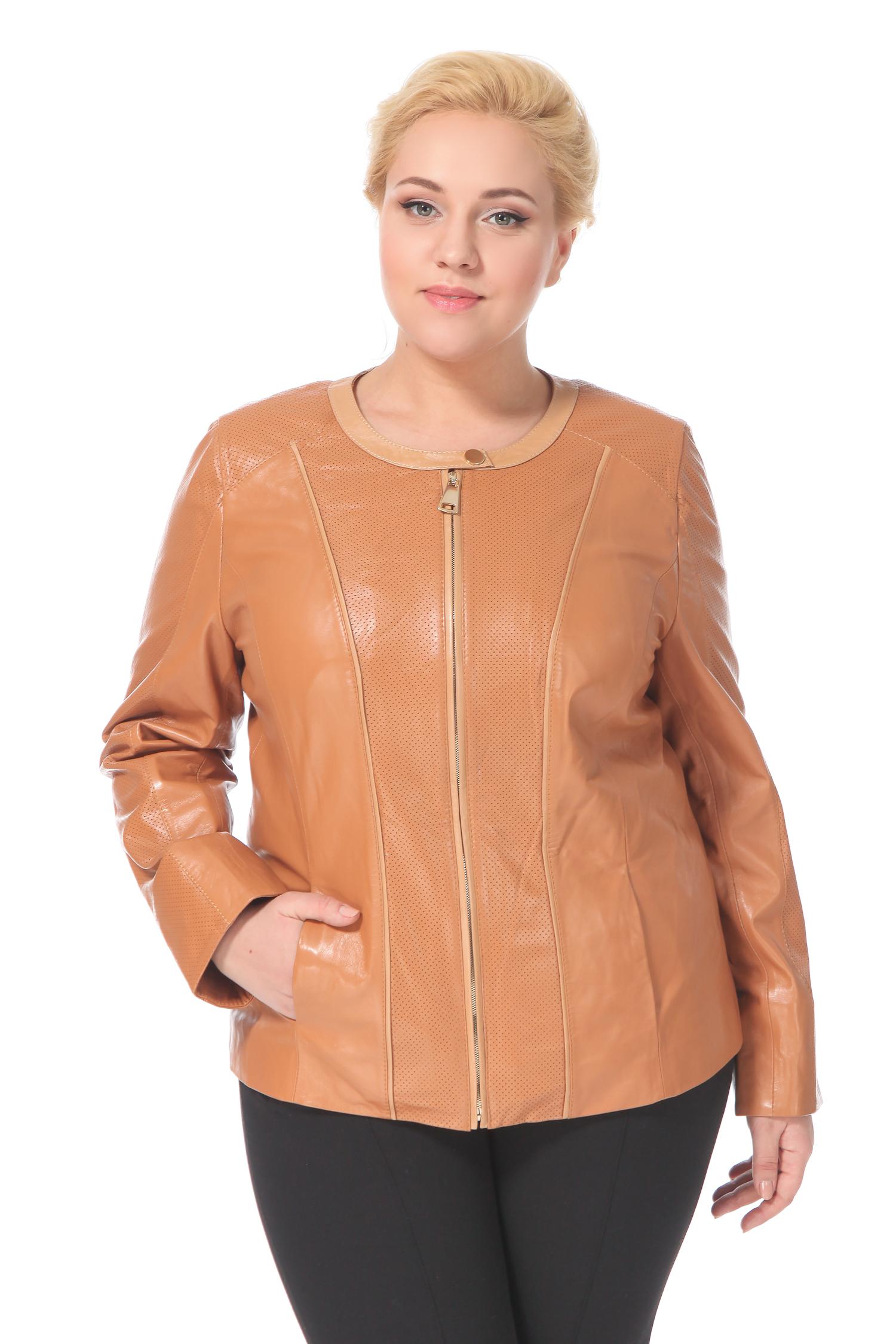 Женская кожаная куртка из натуральной кожи, без отделки<br><br>Длина см: Короткая (51-74 )<br>Материал: Кожа овчина<br>Цвет: коричневый<br>Застежка: на молнии<br>Пол: Женский<br>Размер RU: 48
