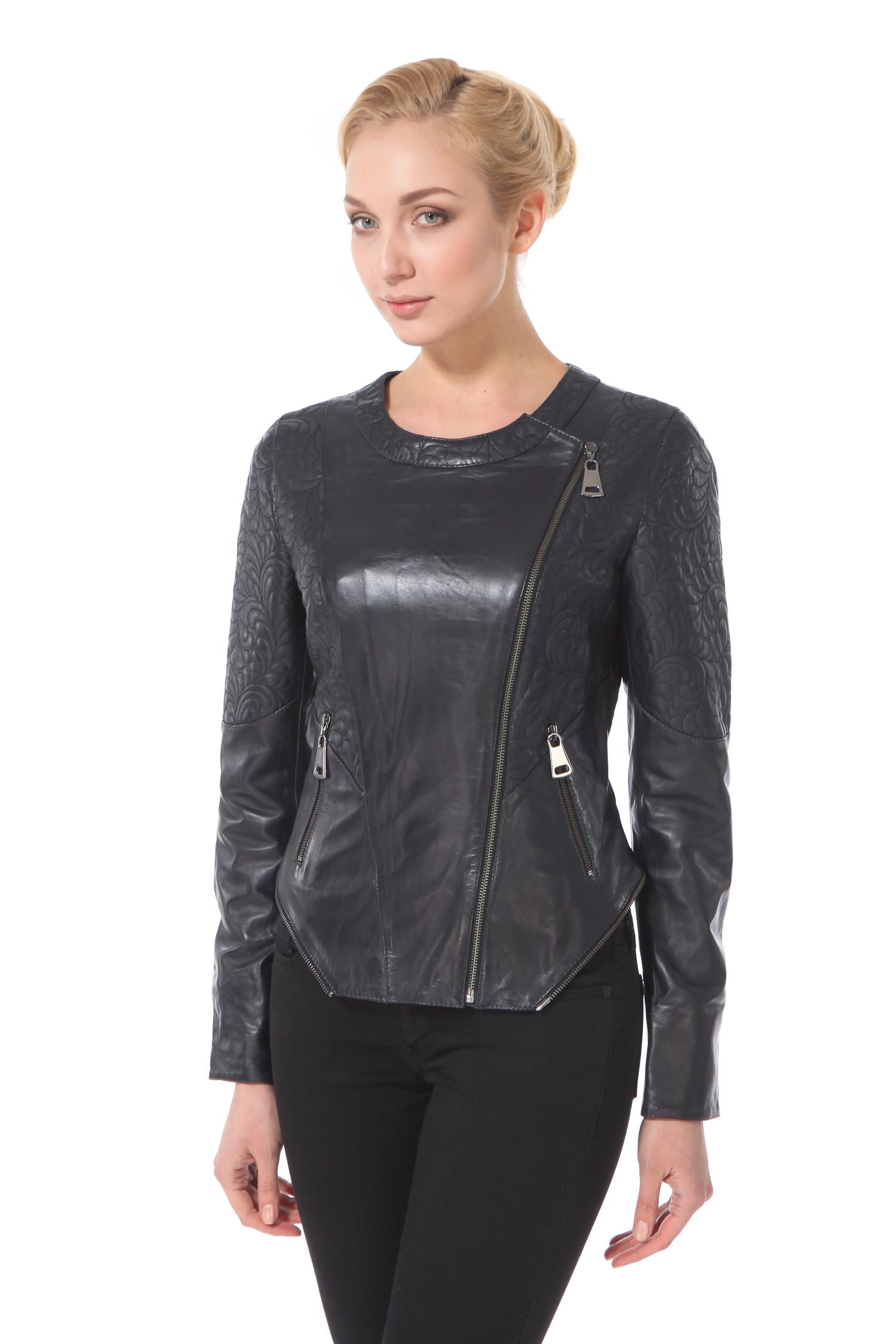 Женская кожаная куртка из натуральной кожи, без отделки<br><br>Длина см: Короткая (51-74 )<br>Материал: Кожа овчина<br>Цвет: синий<br>Застежка: на молнии<br>Пол: Женский<br>Размер RU: 46