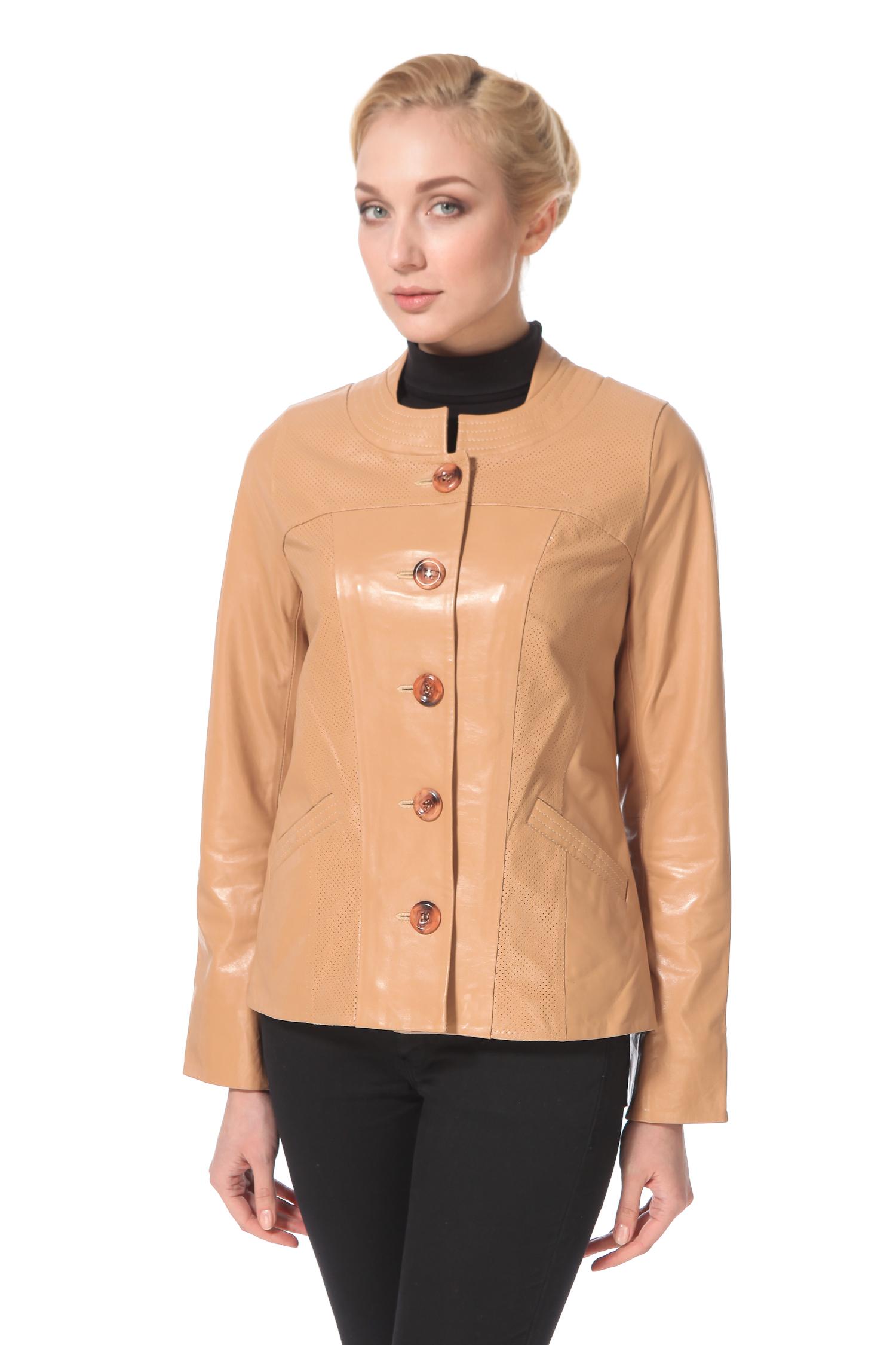 Женская кожаная куртка из натуральной кожи, без отделки<br><br>Длина см: Короткая (51-74 )<br>Материал: Кожа овчина<br>Цвет: желтый<br>Застежка: на пуговицы<br>Пол: Женский<br>Размер RU: 46