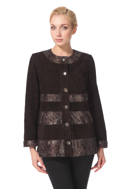 Женская кожаная куртка из натуральной замши, без отделки<br><br>Длина см: Короткая (51-74 )<br>Материал: Замша<br>Цвет: коричневый<br>Застежка: на пуговицы<br>Пол: Женский<br>Размер RU: 50