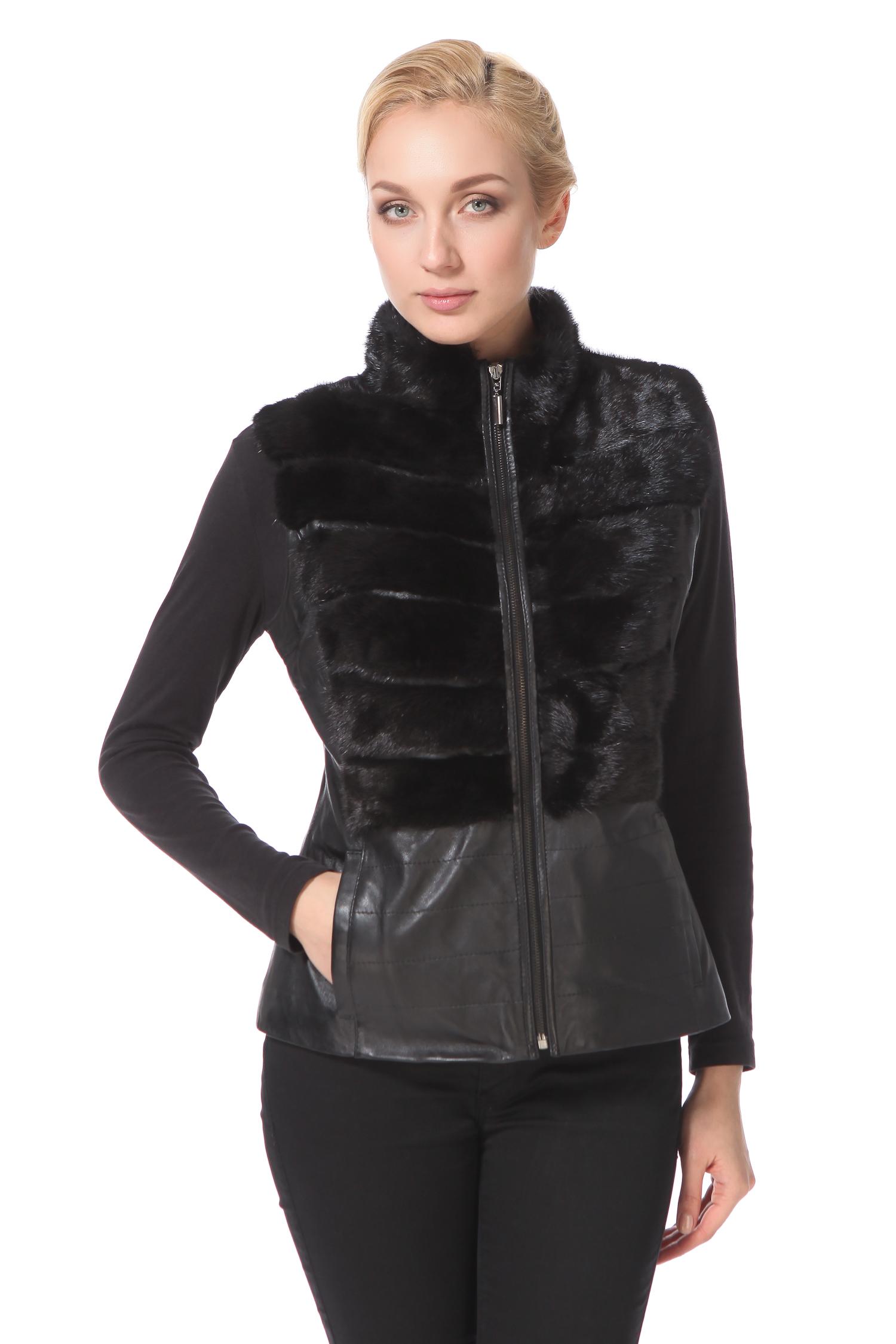 Женская кожаная куртка из натуральной кожи с воротником, отделка норка<br><br>Воротник: стойка<br>Длина см: Короткая (51-74 )<br>Материал: Кожа овчина<br>Цвет: черный<br>Застежка: на молнии<br>Пол: Женский<br>Размер RU: 52