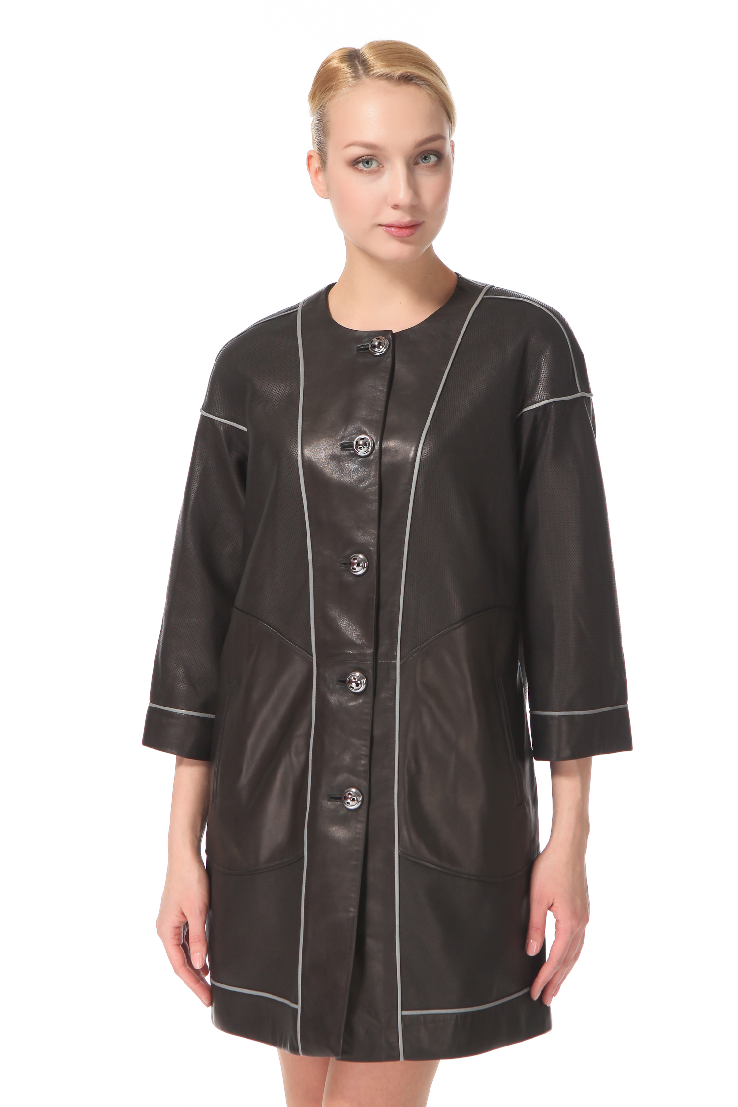 Женское кожаное пальто из натуральной кожи с воротником, без отделки<br><br>Длина см: 90<br>Материал: Натуральная кожа<br>Цвет: Черный<br>Воротник: Шанель<br>Пол: Женский<br>Размер RU: 44