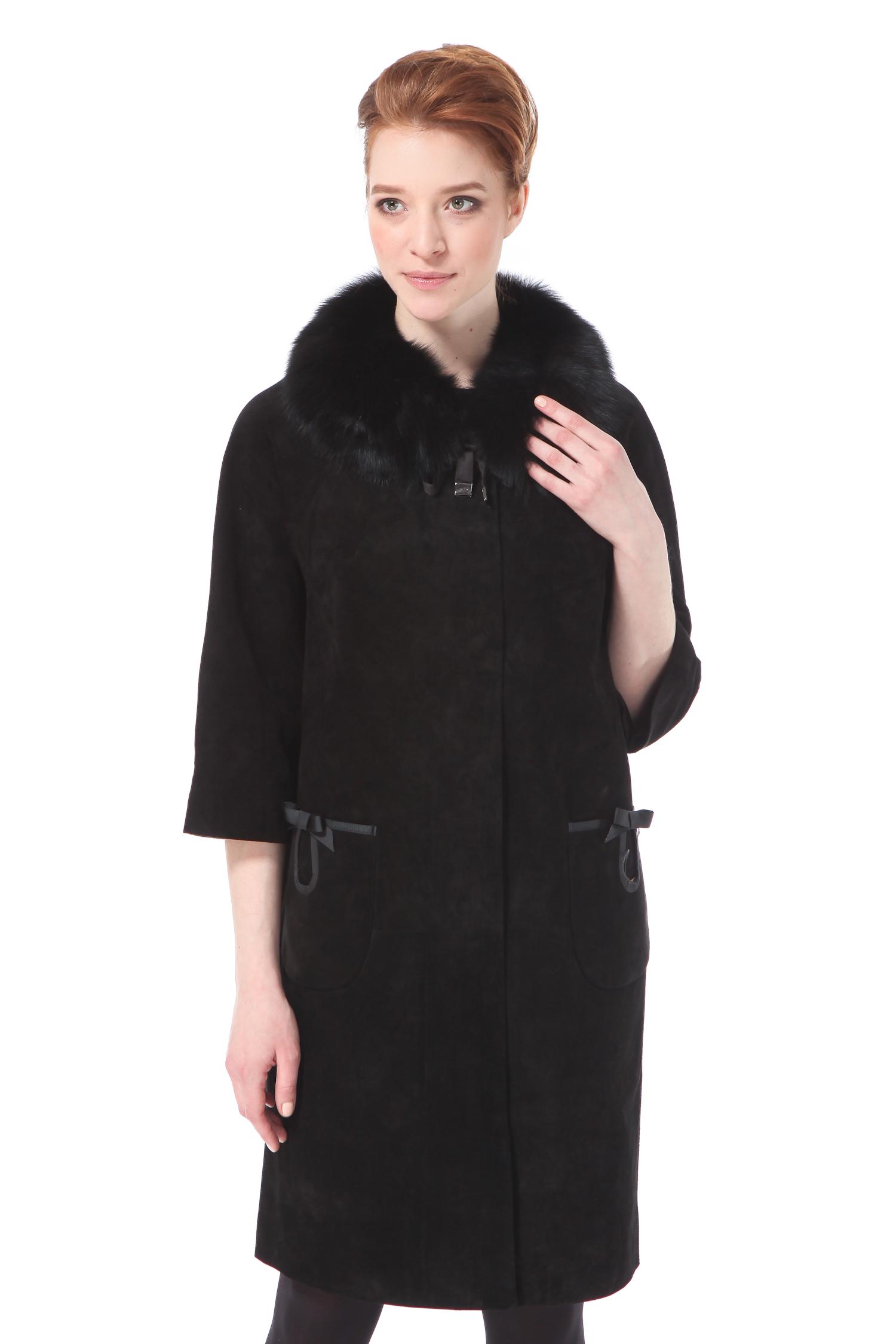 Женское кожаное пальто из натуральной замши с воротником, отделка песец<br><br>Воротник: съемный воротник<br>Длина см: Длинная (свыше 90)<br>Материал: Замша<br>Цвет: черный<br>Вид застежки: потайная<br>Застежка: на молнии<br>Пол: Женский<br>Размер RU: 48