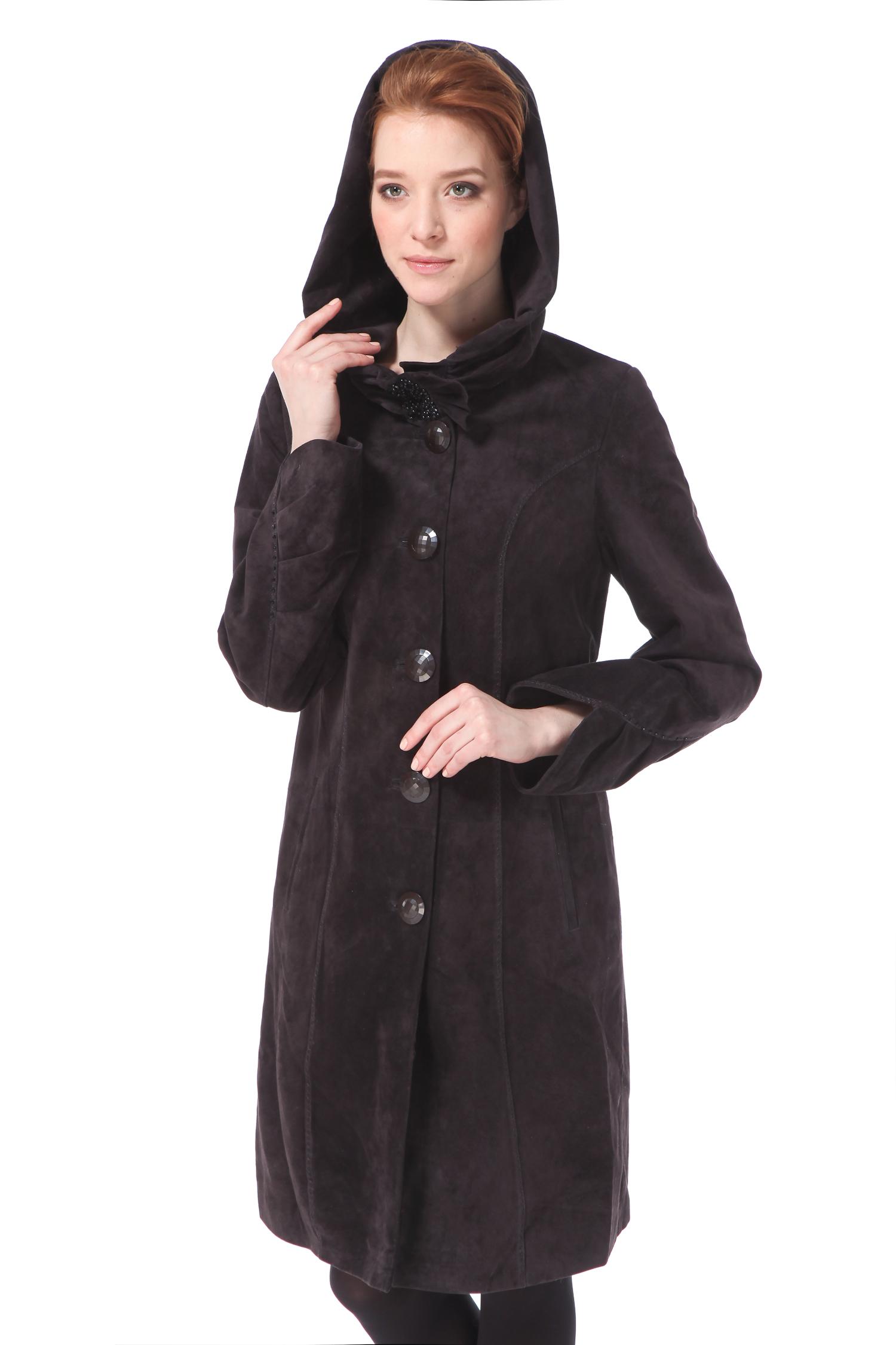 Женское кожаное пальто из натуральной замши с капюшоном, без отделки<br><br>Воротник: капюшон<br>Материал: Замша<br>Цвет: серый<br>Застежка: на пуговицы<br>Пол: Женский<br>Размер RU: 54