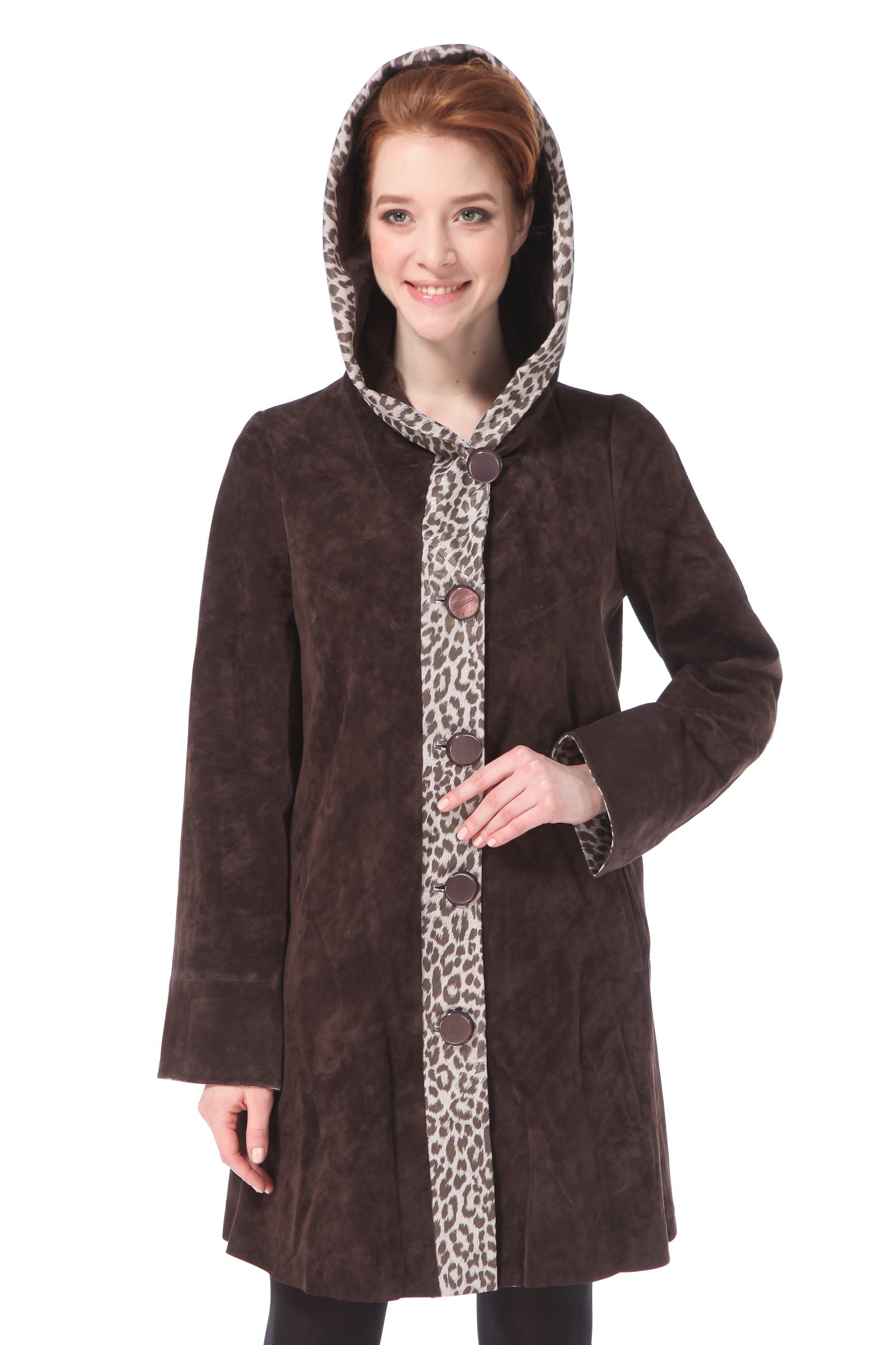 Женское кожаное пальто из натуральной замши с капюшоном, без отделки<br><br>Воротник: капюшон<br>Длина см: Длинная (свыше 90)<br>Материал: Замша<br>Цвет: коричневый<br>Застежка: на пуговицы<br>Пол: Женский<br>Размер RU: 50
