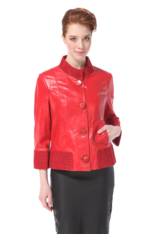 Женская кожаная куртка из натуральной кожи с воротником, без отделки<br><br>Воротник: стойка<br>Длина см: Короткая (51-74 )<br>Материал: Кожа овчина<br>Цвет: красный<br>Пол: Женский<br>Размер RU: 50