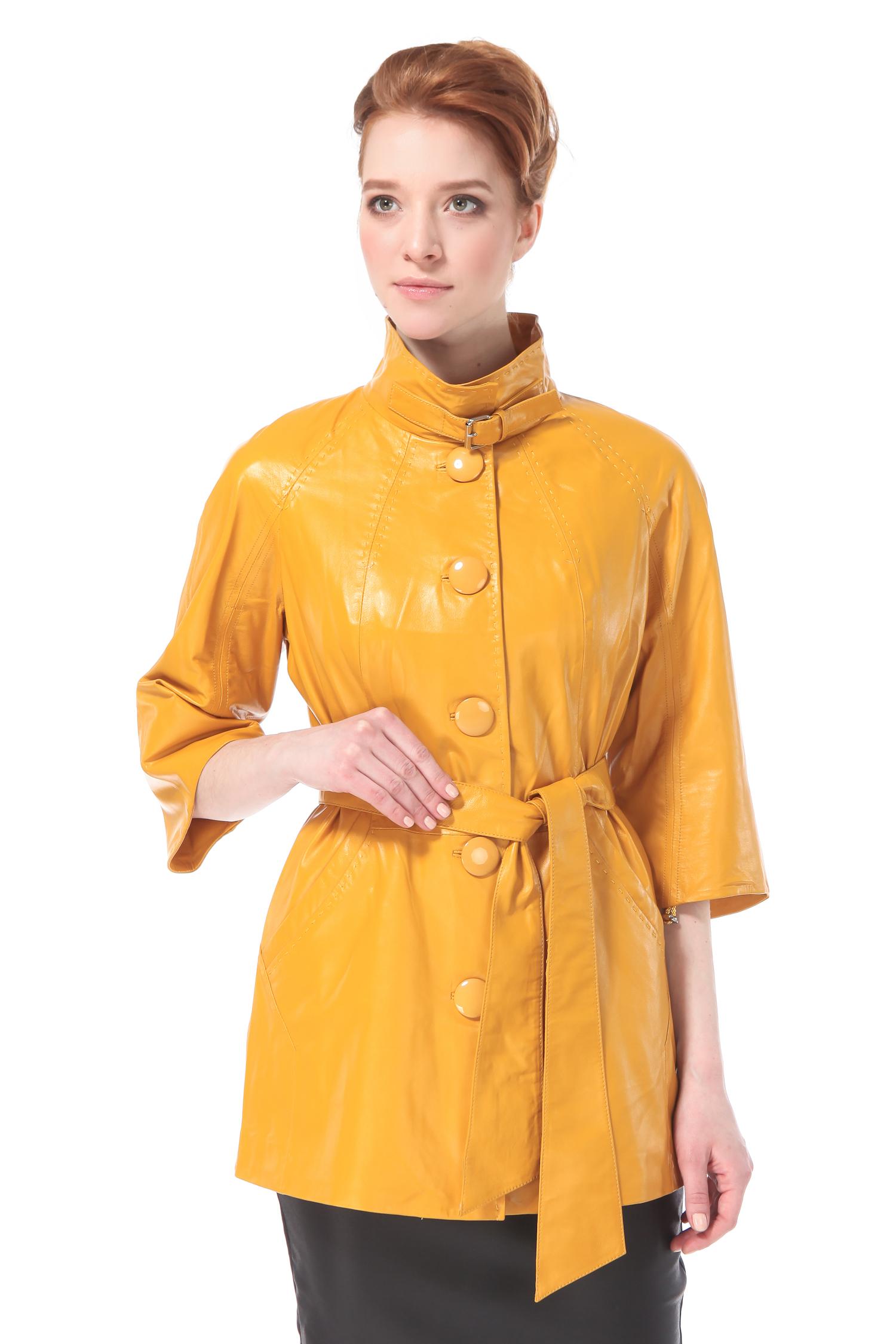 Женская кожаная куртка из натуральной кожи с воротником, без отделки<br><br>Воротник: стойка<br>Длина см: Короткая (51-74 )<br>Материал: Кожа овчина<br>Цвет: желтый<br>Застежка: на пуговицы<br>Пол: Женский<br>Размер RU: 52