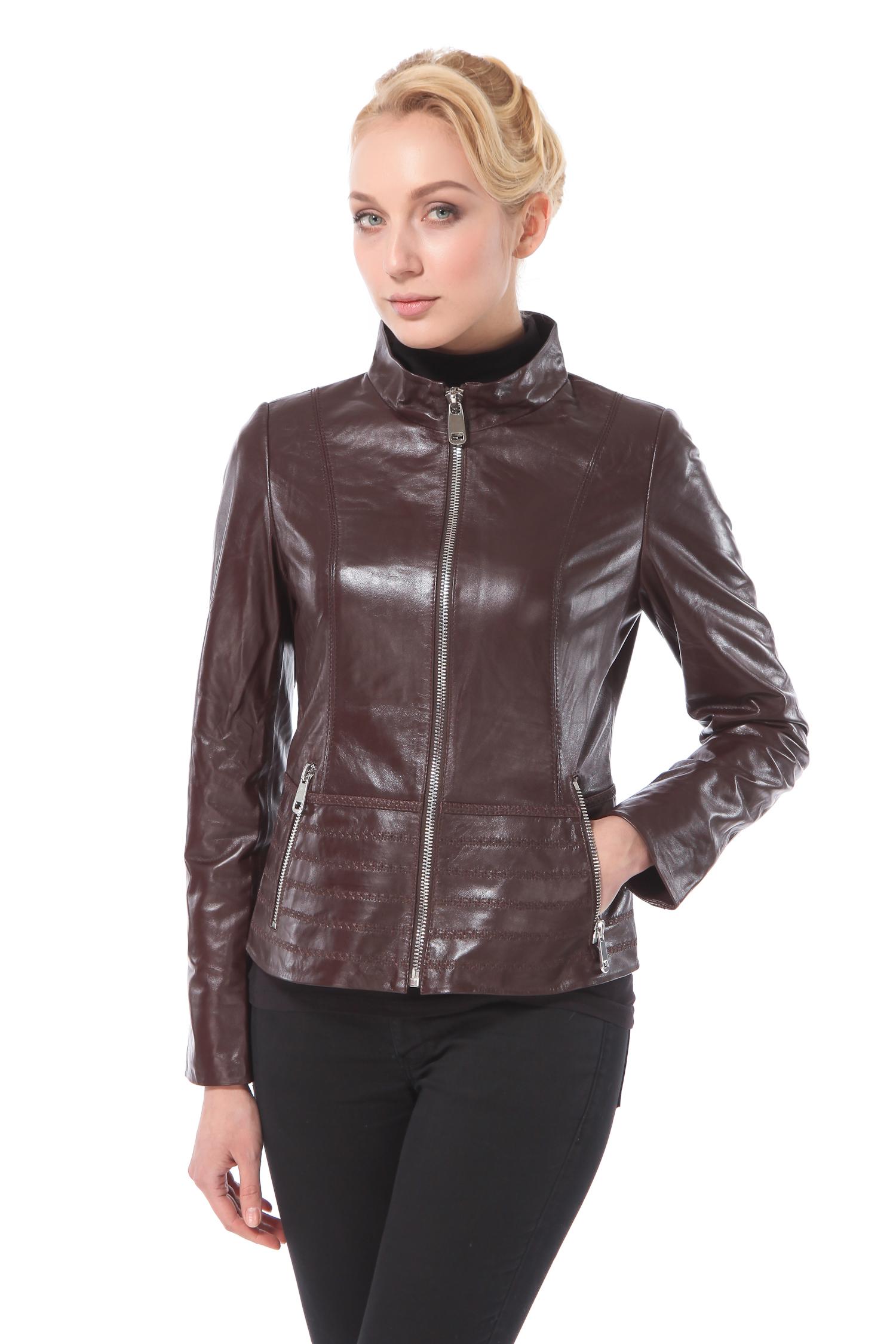 Женская кожаная куртка из натуральной кожи с воротником, без отделки<br><br>Воротник: стойка<br>Длина см: Короткая (51-74 )<br>Материал: Кожа овчина<br>Цвет: коричневый<br>Пол: Женский<br>Размер RU: 44