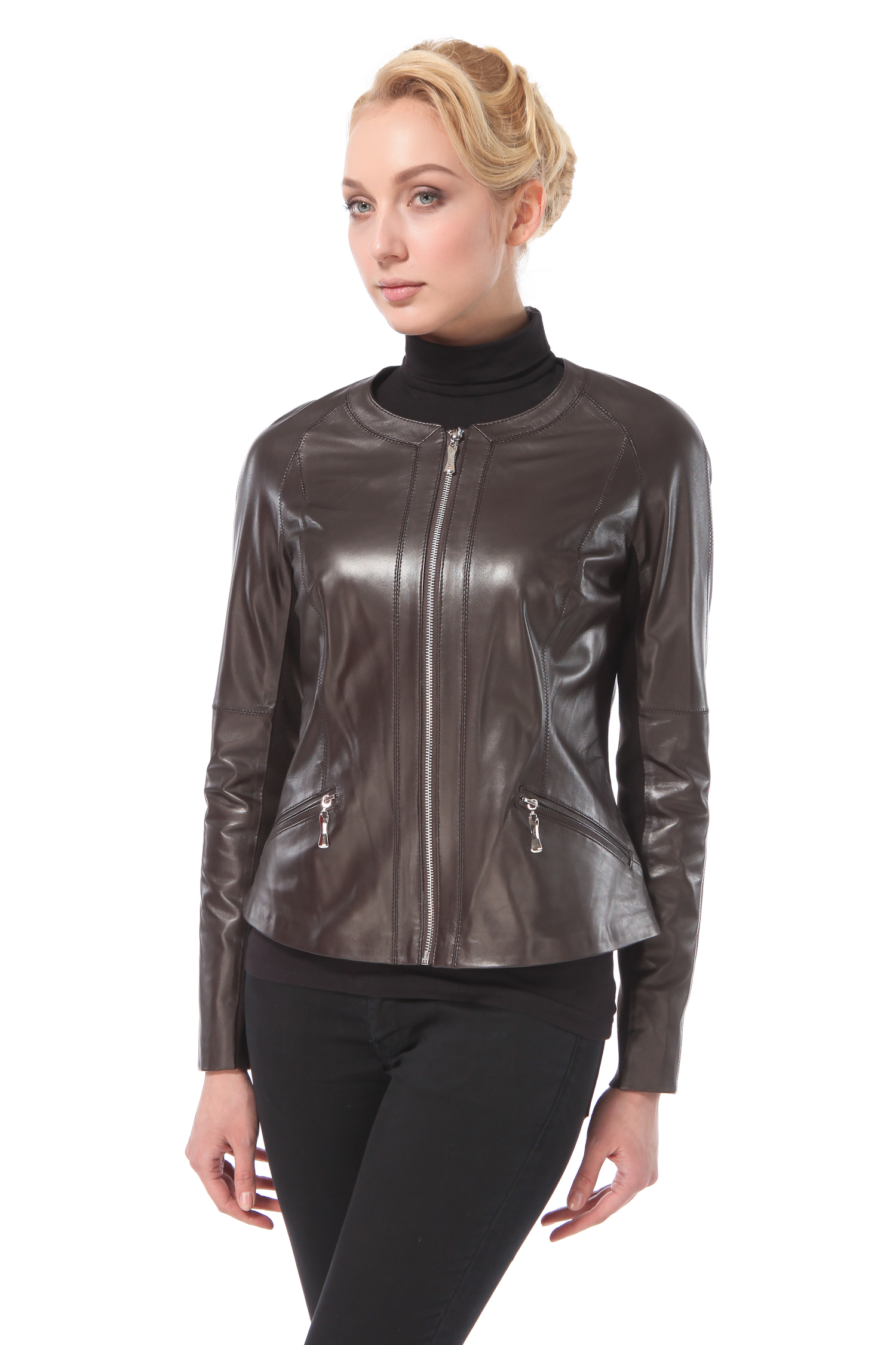 Женская кожаная куртка из натуральной кожи, без отделки<br><br>Длина см: Короткая (51-74 )<br>Материал: Кожа овчина<br>Цвет: коричневый<br>Пол: Женский<br>Размер RU: 54