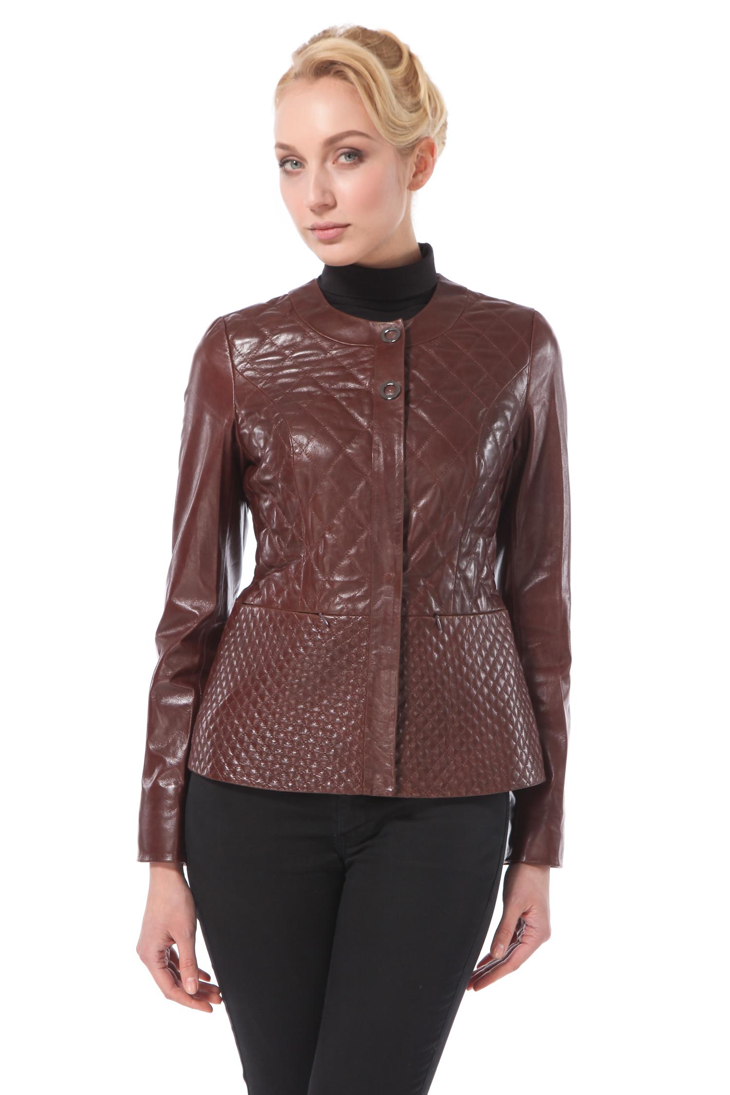 Женская кожаная куртка из натуральной кожи, без отделки<br><br>Длина см: Короткая (51-74 )<br>Материал: Кожа овчина<br>Цвет: коричневый<br>Застежка: на молнии<br>Пол: Женский<br>Размер RU: 52