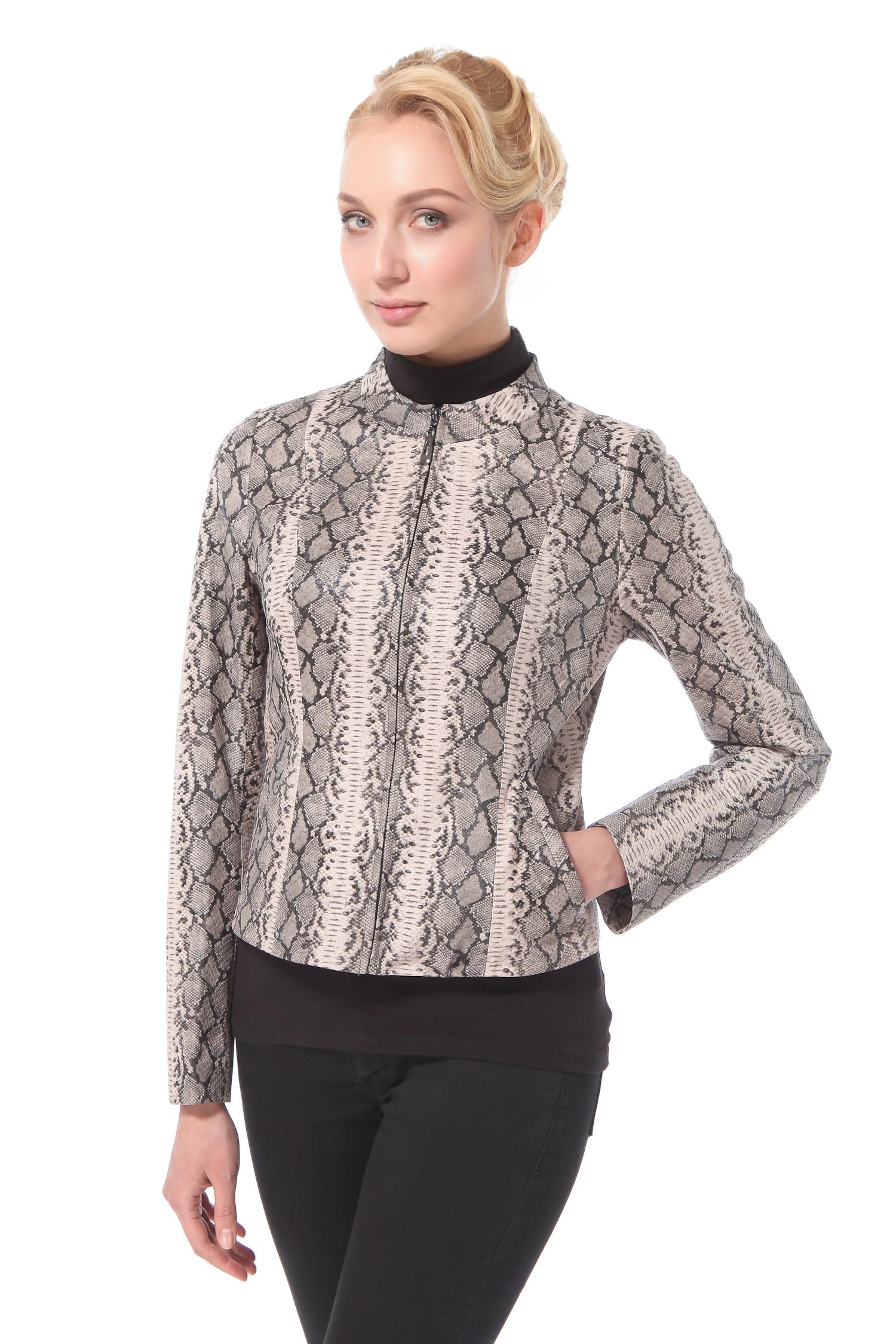 Женская кожаная куртка из натуральной замши с накатом, без отделки<br><br>Длина см: Короткая (51-74 )<br>Материал: Замша<br>Цвет: серый<br>Пол: Женский<br>Размер RU: 54