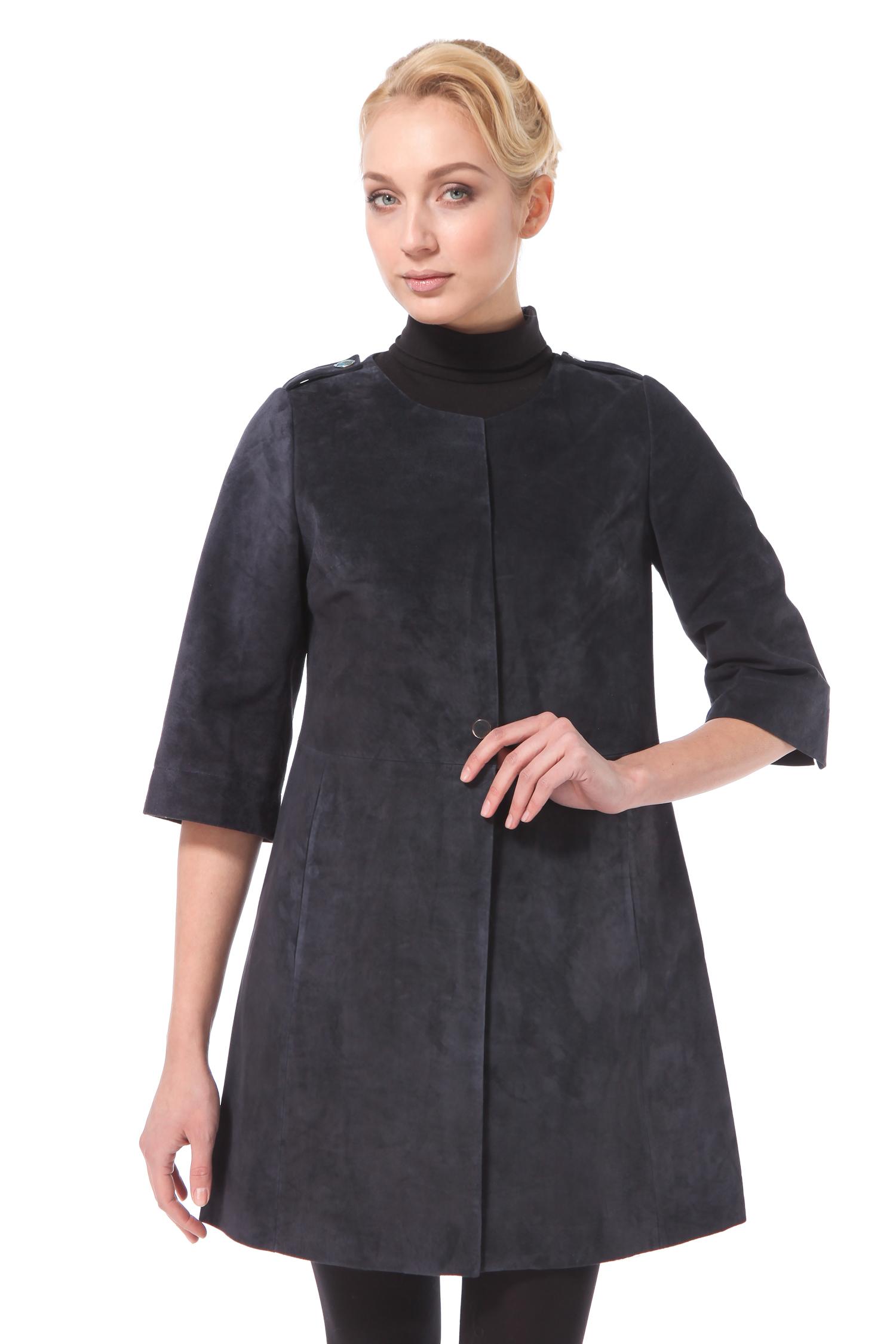 Женское кожаное пальто из натуральной замши с воротником, без отделки<br><br>Длина см: Длинная (свыше 90)<br>Материал: Замша<br>Цвет: синий<br>Пол: Женский<br>Размер RU: 52