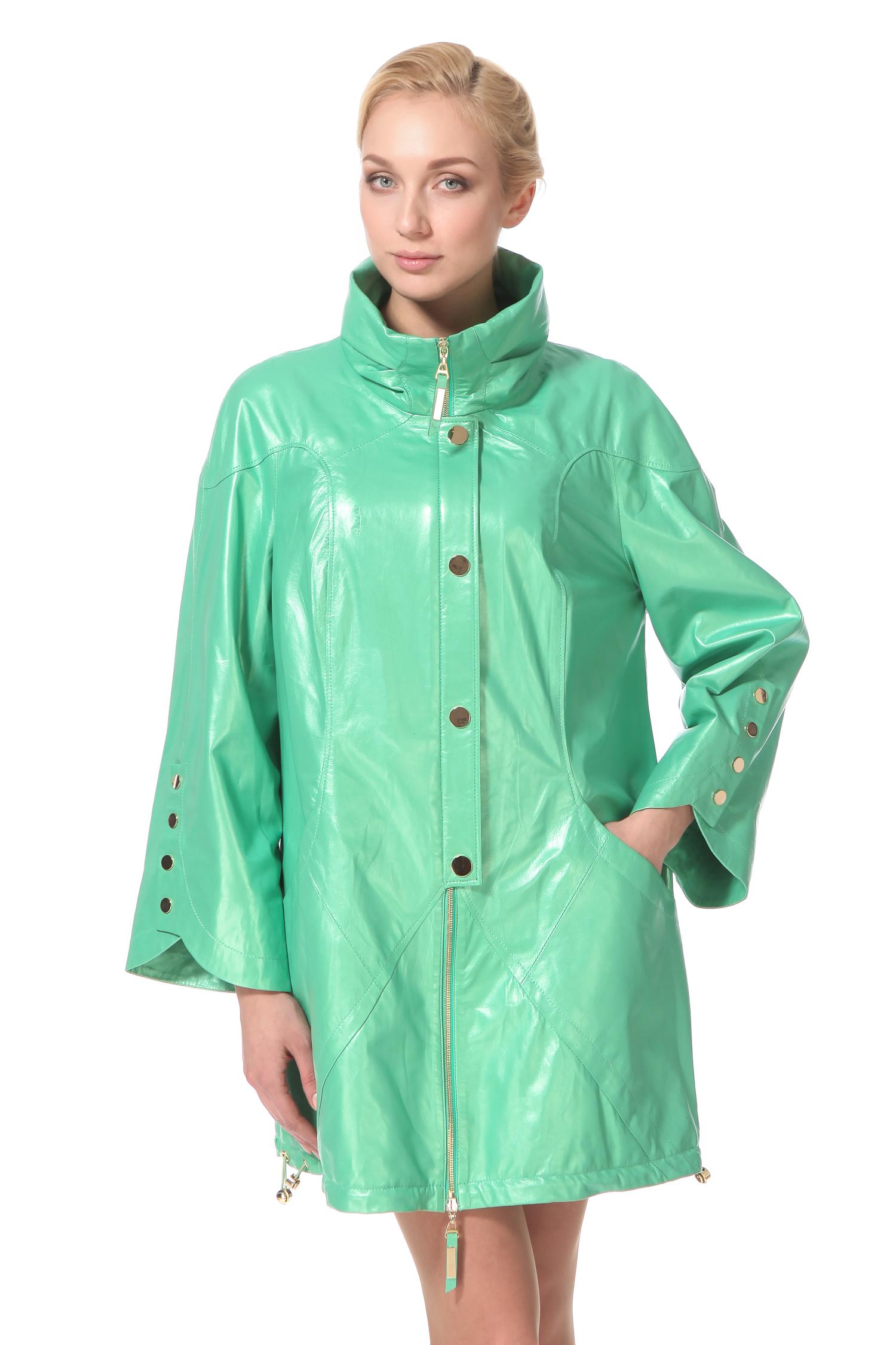 Женское кожаное пальто из натуральной кожи с воротником, без отделкиЦвет - японская мята.<br><br>Яркая модель для тех, кто настроен позитивно вне зависимости от капризов погоды. Фасон изделия, а именно свободный крой и средняя длина, позволят Вам купить только одну куртку на сезон весна/осень, которую Вы можете носить и на работу, и на прогулки. Застежка выполнена на молнию, а дополнительной защитой от вертра служат кнопки. Рукав расклешен к низу, что делает модель красивой и удобной, особенно для женщин пышных форм. Для того, чтобы Вам было еще более комфортно, низ изделия дополнен кулиской. Вы можете сами корректировать длину и крой изделия в зависимости от настроения и погоды.<br><br>Воротник: стойка<br>Длина см: Средняя (75-89 )<br>Материал: Кожа овчина<br>Цвет: зеленый<br>Застежка: на молнии<br>Пол: Женский<br>Размер RU: 48