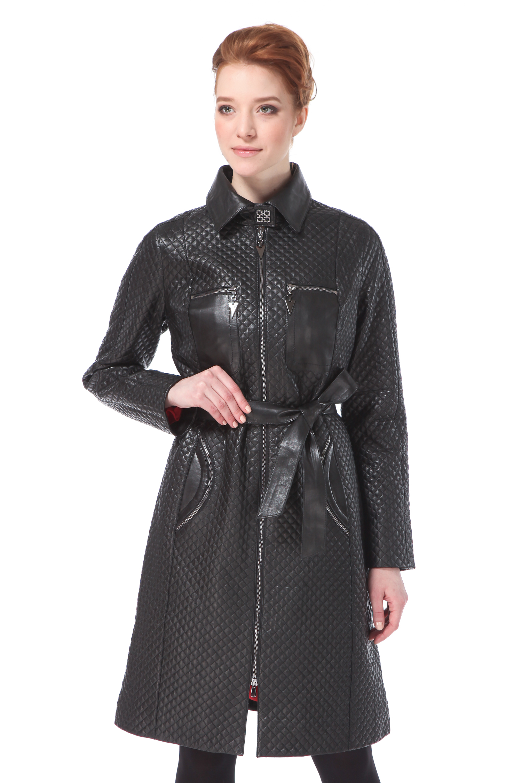 Женское кожаное пальто из натуральной кожи с воротником, без отделки<br><br>Материал: Кожа овчина<br>Цвет: черный<br>Застежка: на молнии<br>Пол: Женский<br>Размер RU: 44