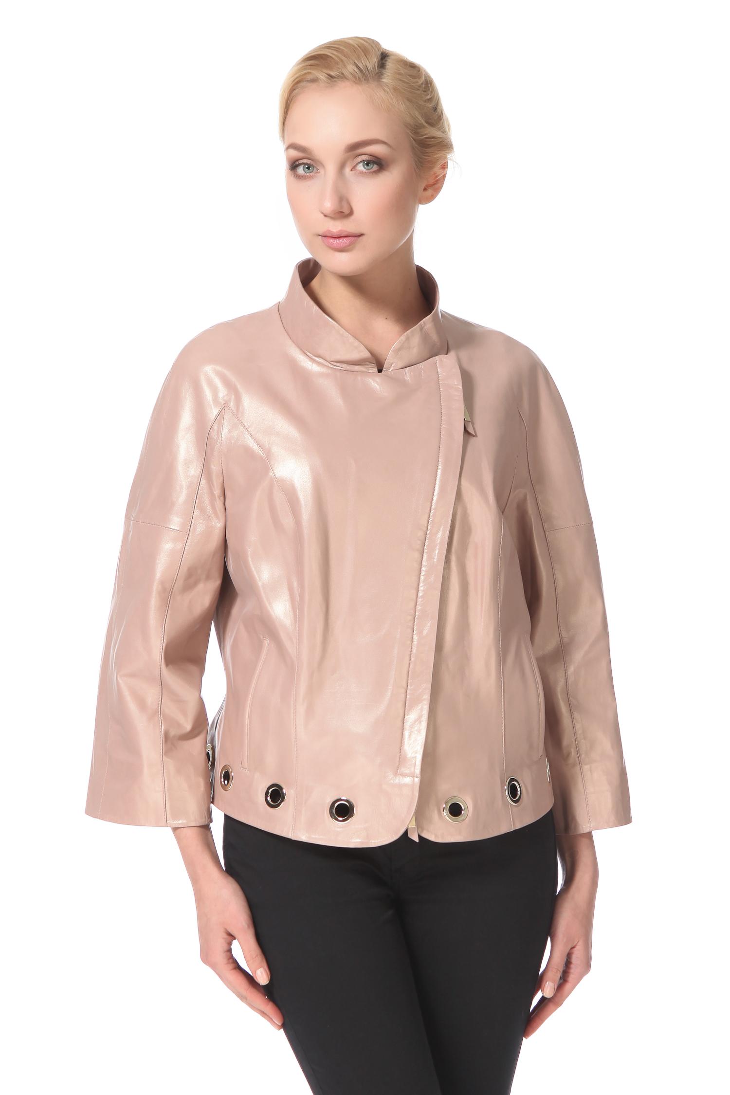 Женская кожаная куртка из натуральной кожи с воротником, без отделки<br><br>Воротник: стойка<br>Длина см: Короткая (51-74 )<br>Материал: Кожа овчина<br>Цвет: бежевый<br>Застежка: на молнии<br>Пол: Женский<br>Размер RU: 52