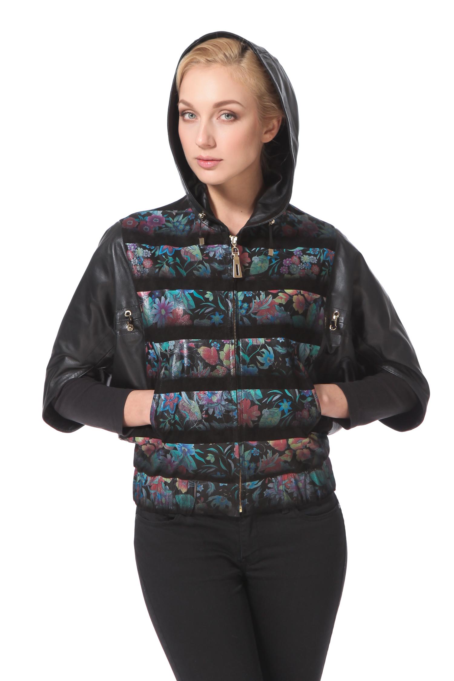 Женская кожаная куртка из натуральной замши с капюшоном, без отделки от Московская Меховая Компания