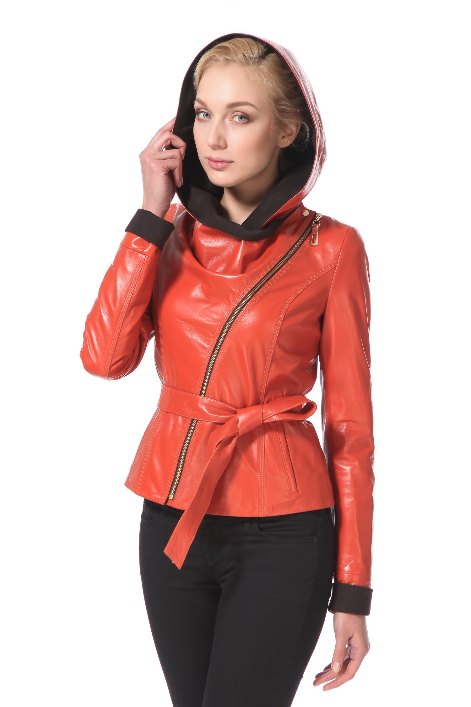 Женская кожаная куртка из натуральной кожи с капюшоном, без отделкиЦвет – коралл.Согреть необычным оттенком цвета охры способна миниатюрная кожаная куртка-косуха, в ней Вы точно не сможете остаться в тени. Идеальная посадка, лаконичность силуэта придают образу элегантность и собранность. Ключевыми акцентами такой курточки являются глубокий капюшон с контрастной подкладкой, который оригинально застегивается не только на молнию, но и на металлическую кнопку, а также запоминающийся цвет. Приобретя данную модель, можно быть на 100% уверенной, в том, что она прослужит не один сезон и при этом будет выглядеть всегда актуально.<br><br>Воротник: капюшон<br>Длина см: Короткая (51-74 )<br>Материал: Кожа овчина<br>Цвет: коричневый<br>Застежка: на молнии<br>Пол: Женский<br>Размер RU: 48