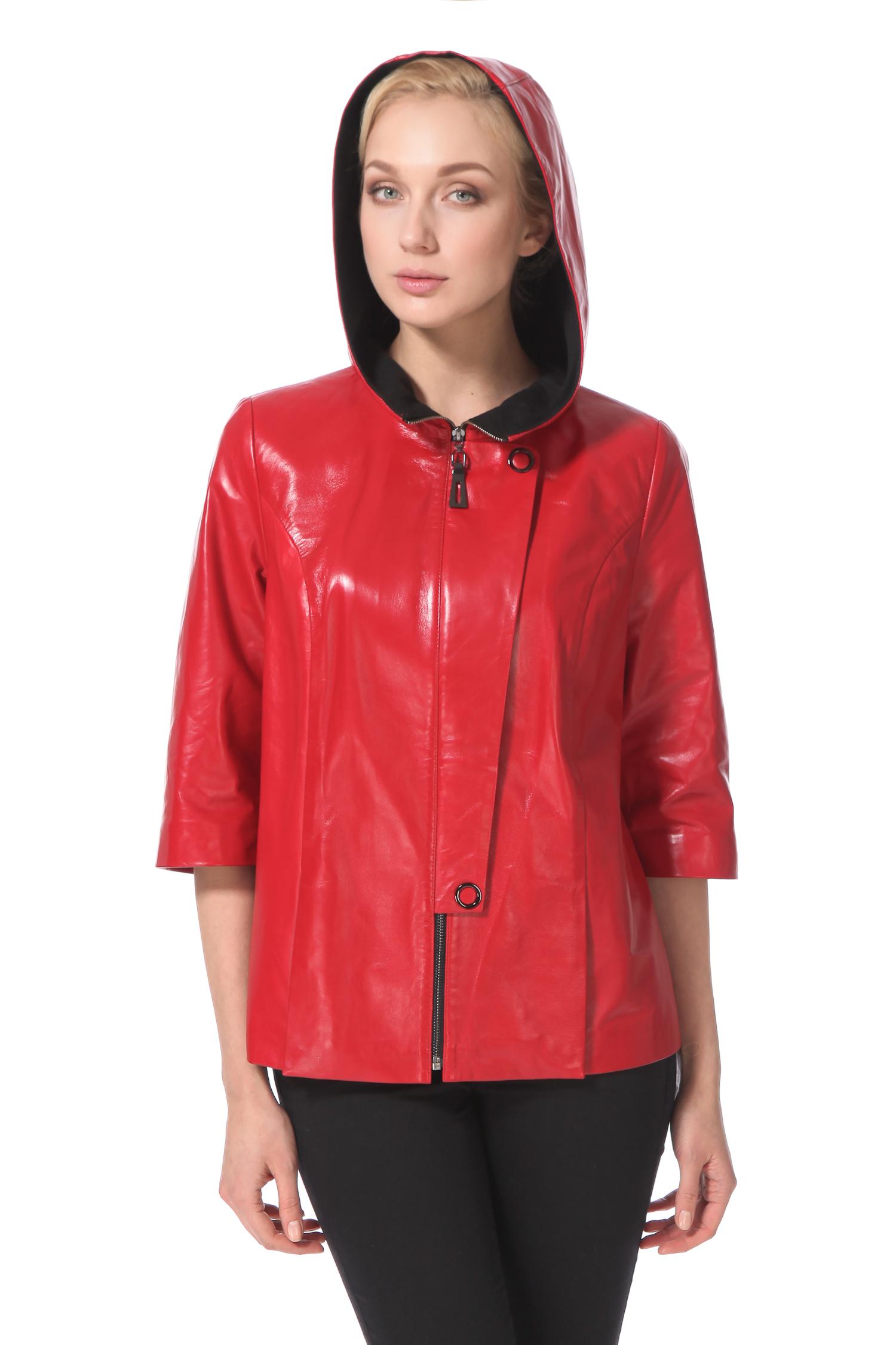 Женская кожаная куртка из натуральной кожи с капюшоном, без отделки. Производитель: Московская Меховая Компания, артикул: 4594