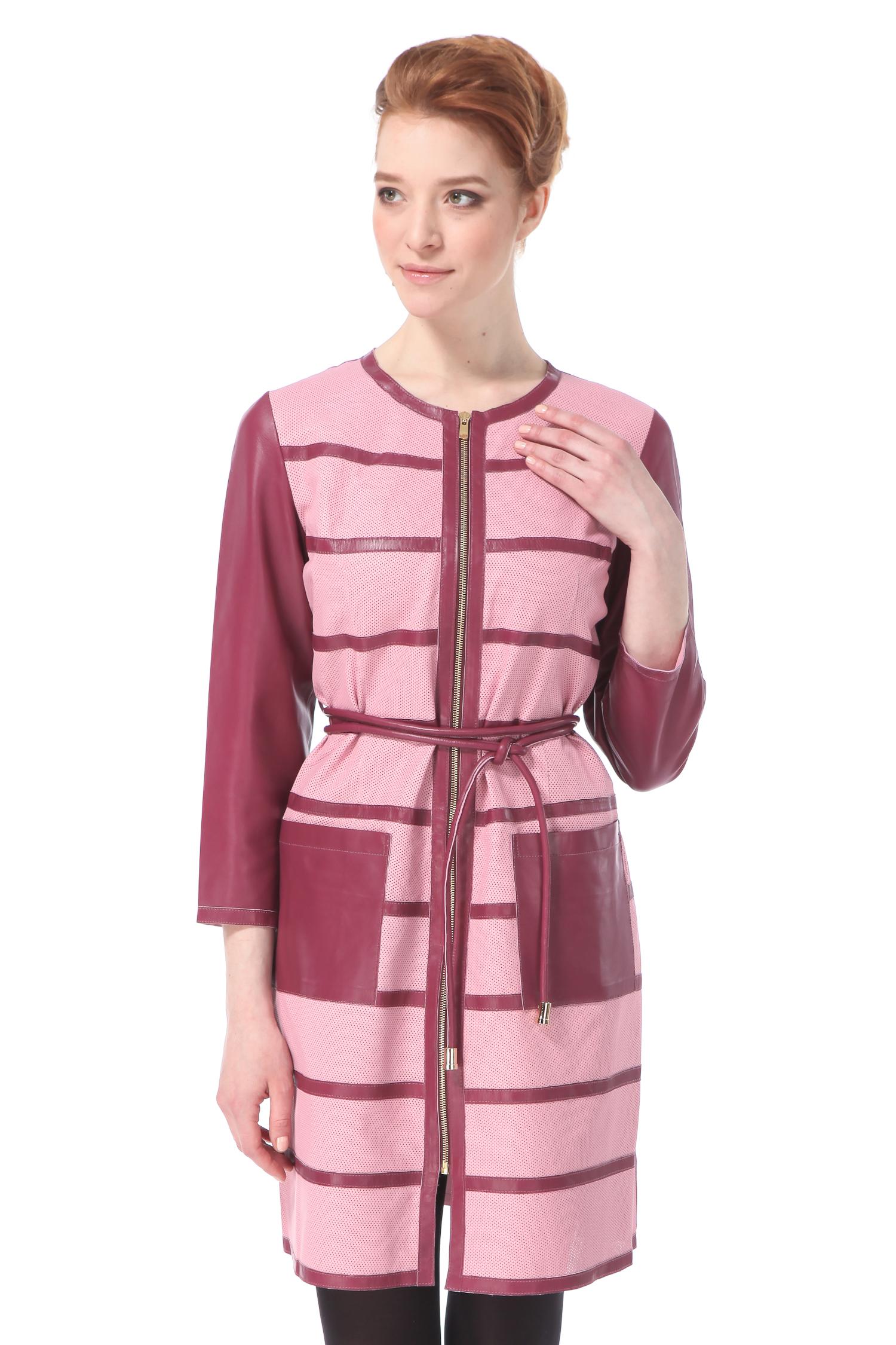 Женское кожаное пальто из натуральной кожи с воротником, без отделки<br><br>Длина см: Длинная (свыше 90)<br>Материал: Кожа овчина<br>Цвет: розовый<br>Застежка: на молнии<br>Пол: Женский<br>Размер RU: 50