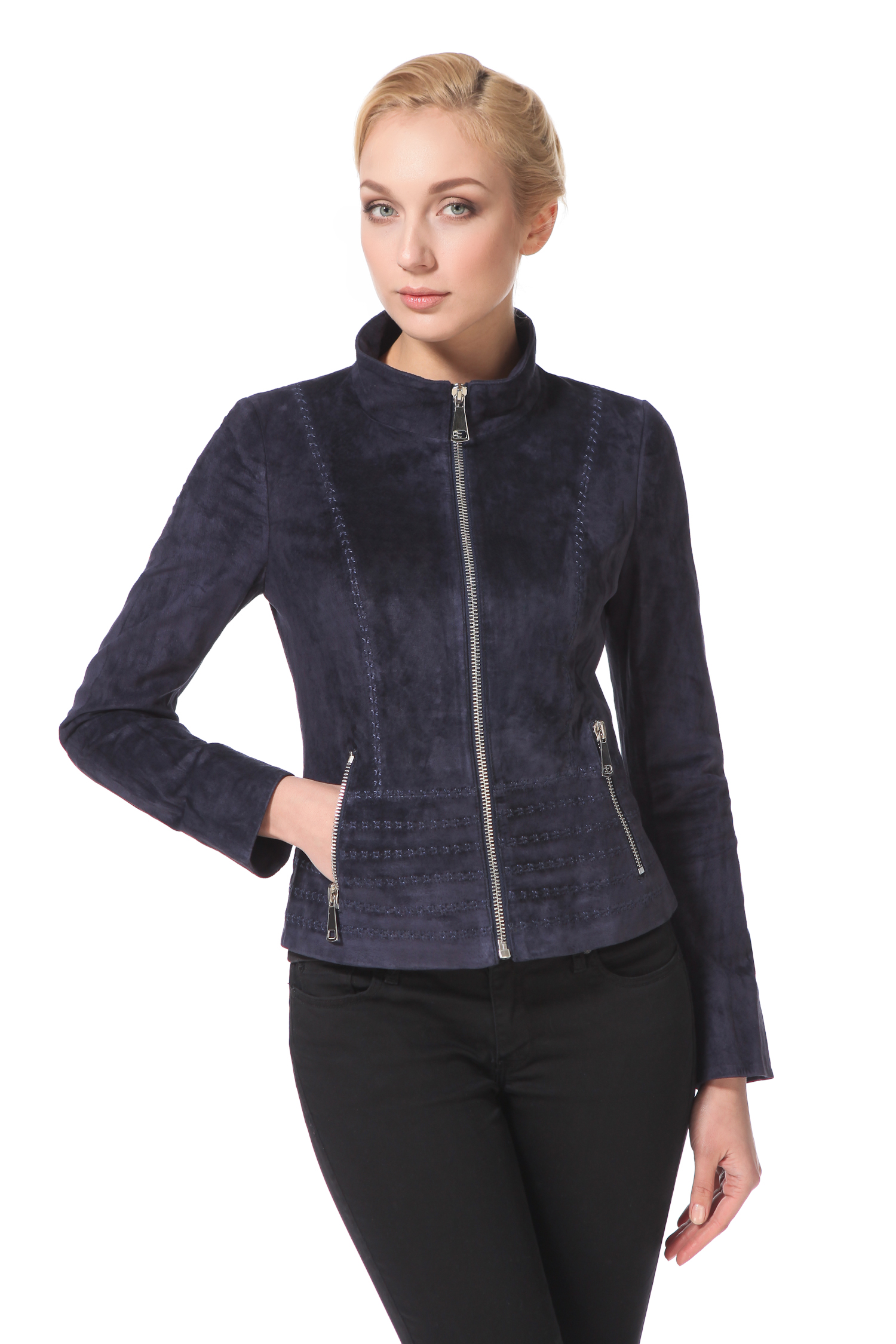 Женская кожаная куртка из натуральной замши с воротником, без отделки<br><br>Воротник: стойка<br>Длина см: Короткая (51-74 )<br>Материал: Замша<br>Цвет: синий<br>Застежка: на молнии<br>Пол: Женский<br>Размер RU: 46