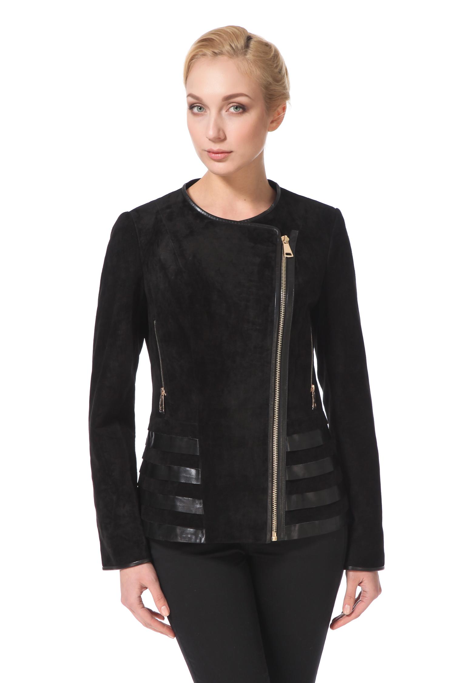 Женская кожаная куртка из натуральной замши, без отделки<br><br>Длина см: Короткая (51-74 )<br>Материал: Замша<br>Цвет: черный<br>Застежка: на молнии<br>Пол: Женский<br>Размер RU: 52
