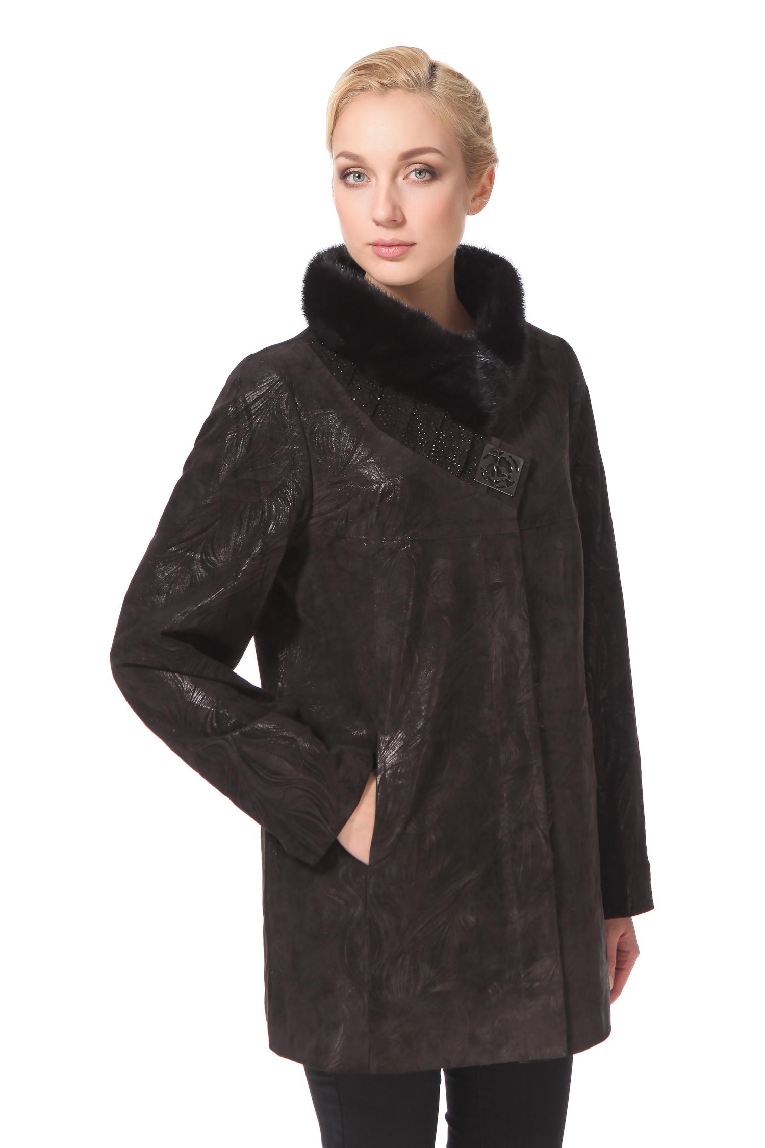 Женское кожаное пальто из натуральной замши с воротником, отделка норка<br><br>Воротник: стойка<br>Длина см: Средняя (75-89 )<br>Материал: Замша<br>Цвет: коричневый<br>Застежка: на молнии<br>Пол: Женский<br>Размер RU: 48