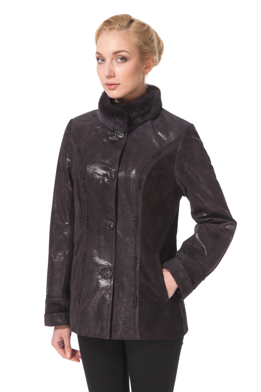Женская кожаная куртка из натуральной замши с воротником,  отделка норка