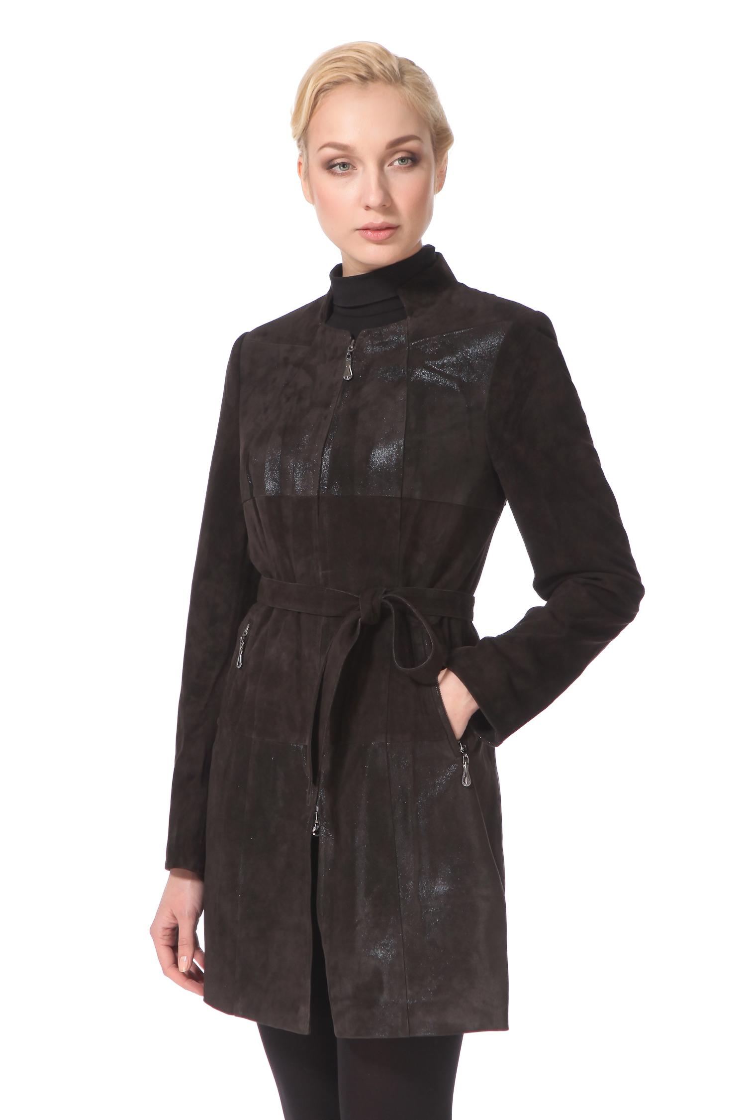 Женское кожаное пальто из натуральной замши (с накатом) с воротником, без отделки<br><br>Воротник: стойка<br>Длина см: Средняя (75-89 )<br>Материал: Замша<br>Цвет: коричневый<br>Пол: Женский<br>Размер RU: 50