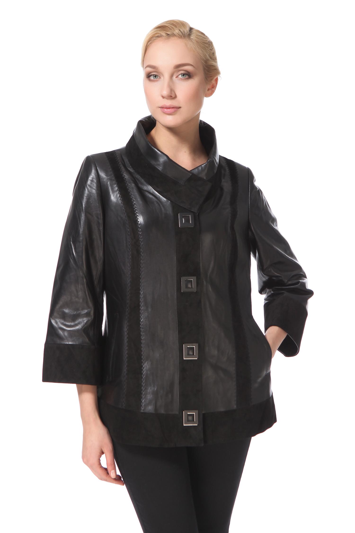 Женская кожаная куртка из натуральной замши с воротником, без отделки
