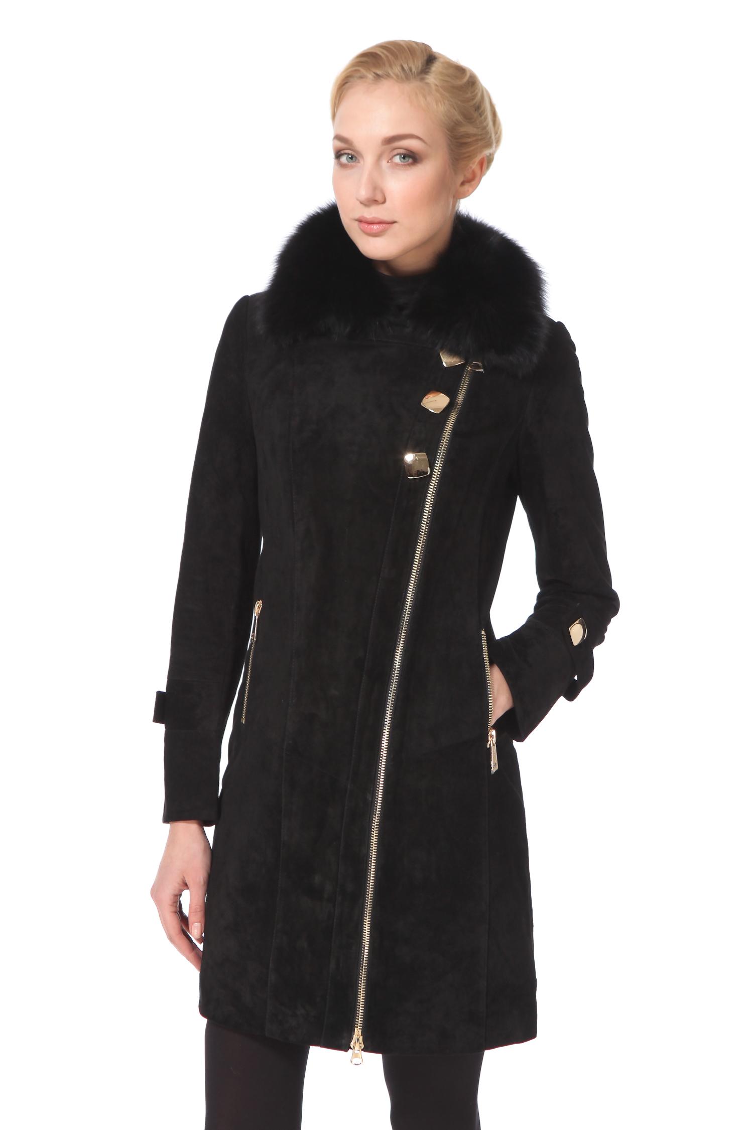 Женское кожаное пальто из натуральной замши с воротником, отделка песецЦвет  угольно-черный.<br><br>Отдав предпочтение укороченному замшевому пальто в стиле а ля косуха с аккуратным воротником из меха песца, вы можете не сомневаться в успешности вашего выбора не на один сезон. Крупная мобильная застежка-молния с двумя замками актуальна как всегда, но есть и новинка сезона  нестандартно большие пуговицы. Легкая и мобильная модель с выразительной металлической фурнитурой золотистого оттенка, так актуальной в предстоящем сезоне, станет настоящей находкой для молодой женщины, любящей движение, динамику и комфорт. Оригинальное, немного агрессивное пальто позволит в любой ситуации сохранить уверенность в собственной привлекательности.<br><br>Воротник: отложной<br>Длина см: Длинная (свыше 90)<br>Материал: Замша<br>Цвет: черный<br>Вид застежки: косая<br>Застежка: на молнии<br>Пол: Женский<br>Размер RU: 48