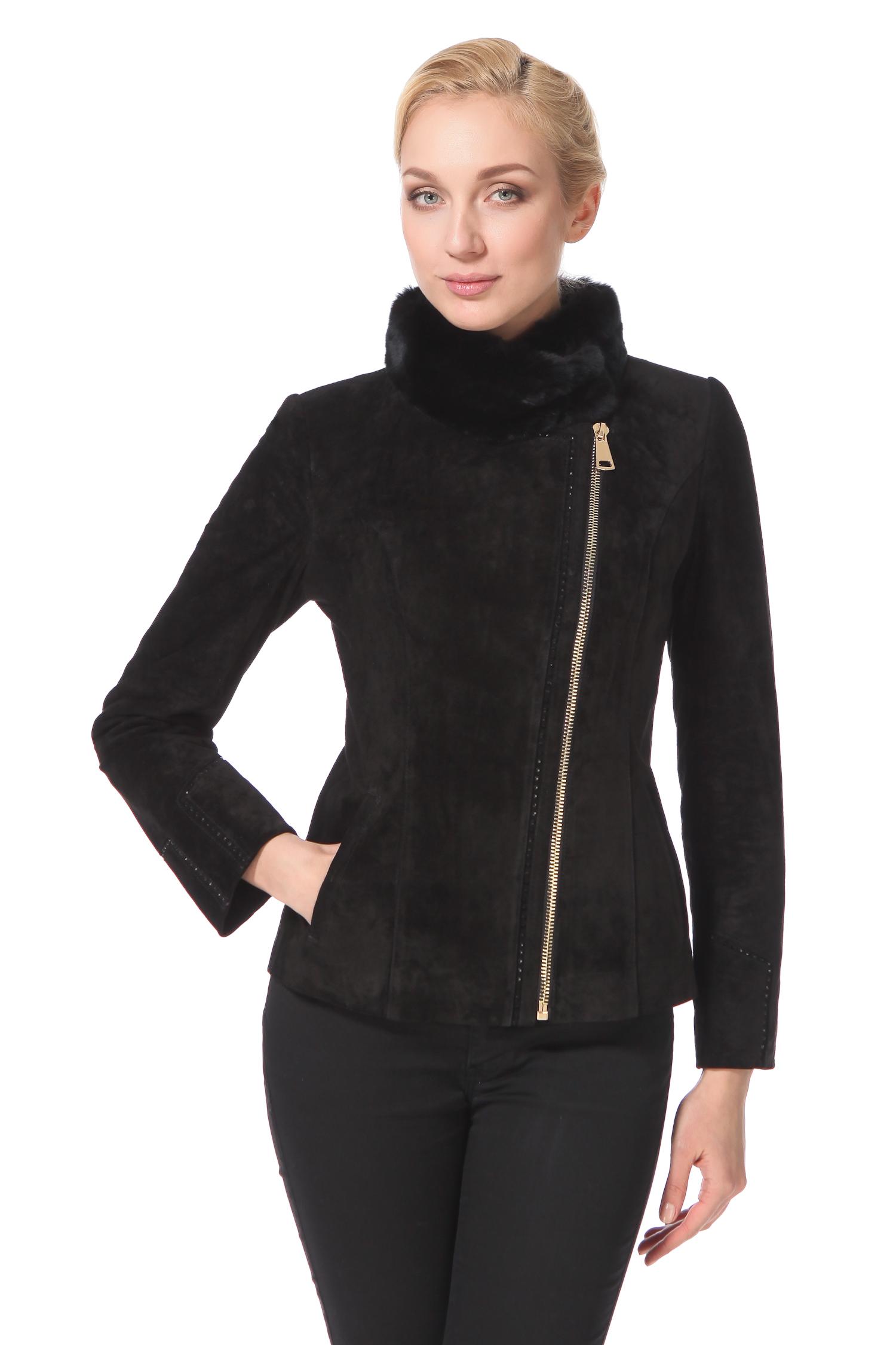 Женская кожаная куртка из натуральной замши с воротником, отделка кроликЦвет – угольно-черный.Надоели прямые длинные фасоны? Похоже, короткая замшевая куртка с прочной асимметричной металлической молнией и удивительно женственным воротником-стойкой из меха кролика Rex, ждет именно вас. Модель не имеет строгих стилистических ограничений. Она одинаково интересно смотрится как с классическими, так и авангардными предметами гардероба. Куртку можно сотни раз обыгрывать разными аксессуарами, и она будет выглядеть всегда удивительно свежо. Модель безупречно сядет на изящную фигуру, а также дамы округлых форм смогут себя чувствовать в ней достаточно комфортно.<br><br>Воротник: стойка<br>Длина см: Короткая (51-74 )<br>Материал: Замша<br>Цвет: черный<br>Пол: Женский<br>Размер RU: 46