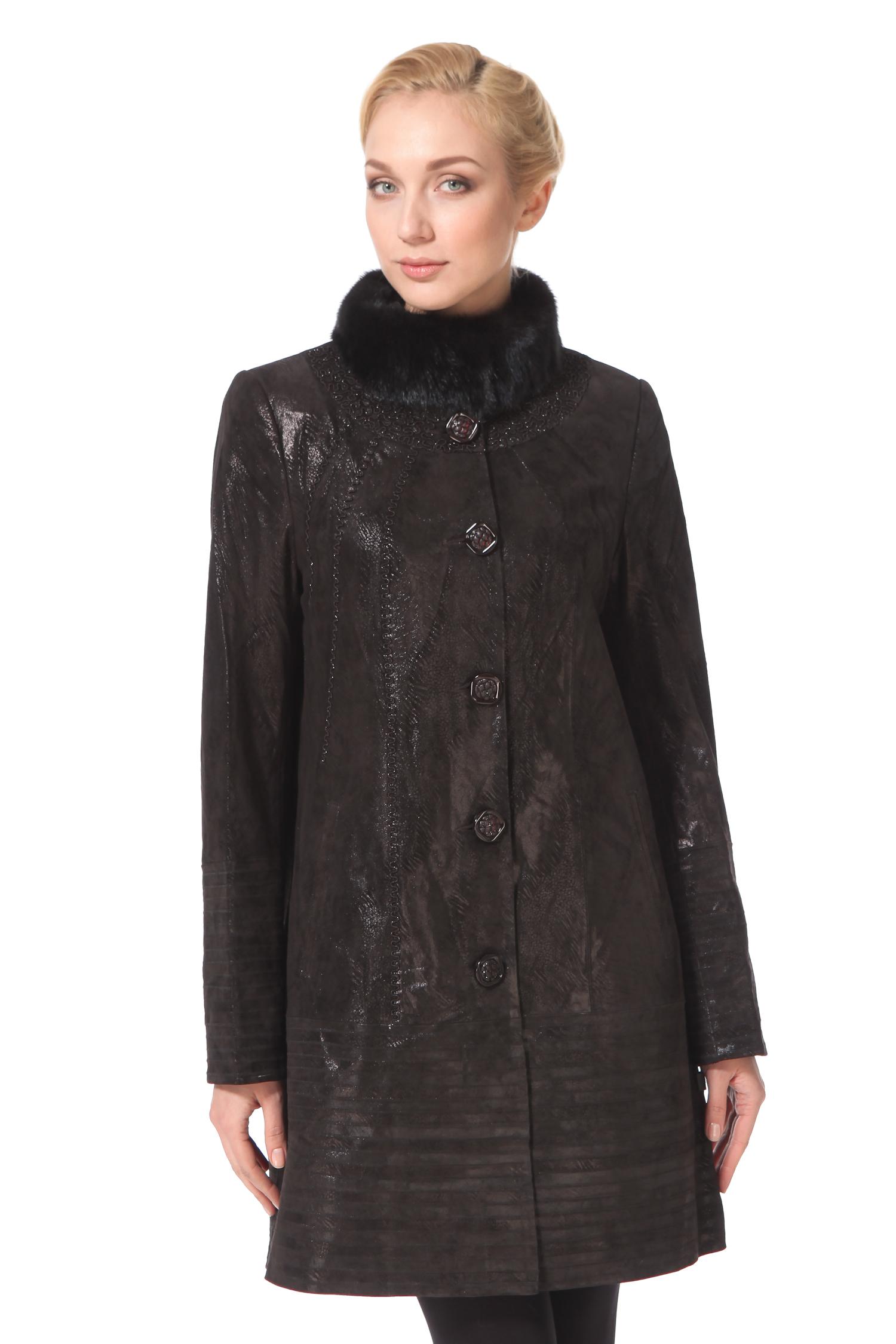 Женское кожаное пальто из натуральной замши (с накатом) с воротником,  отделка норка<br><br>Воротник: стойка<br>Длина см: Длинная (свыше 90)<br>Материал: Замша<br>Цвет: коричневый<br>Пол: Женский<br>Размер RU: 50