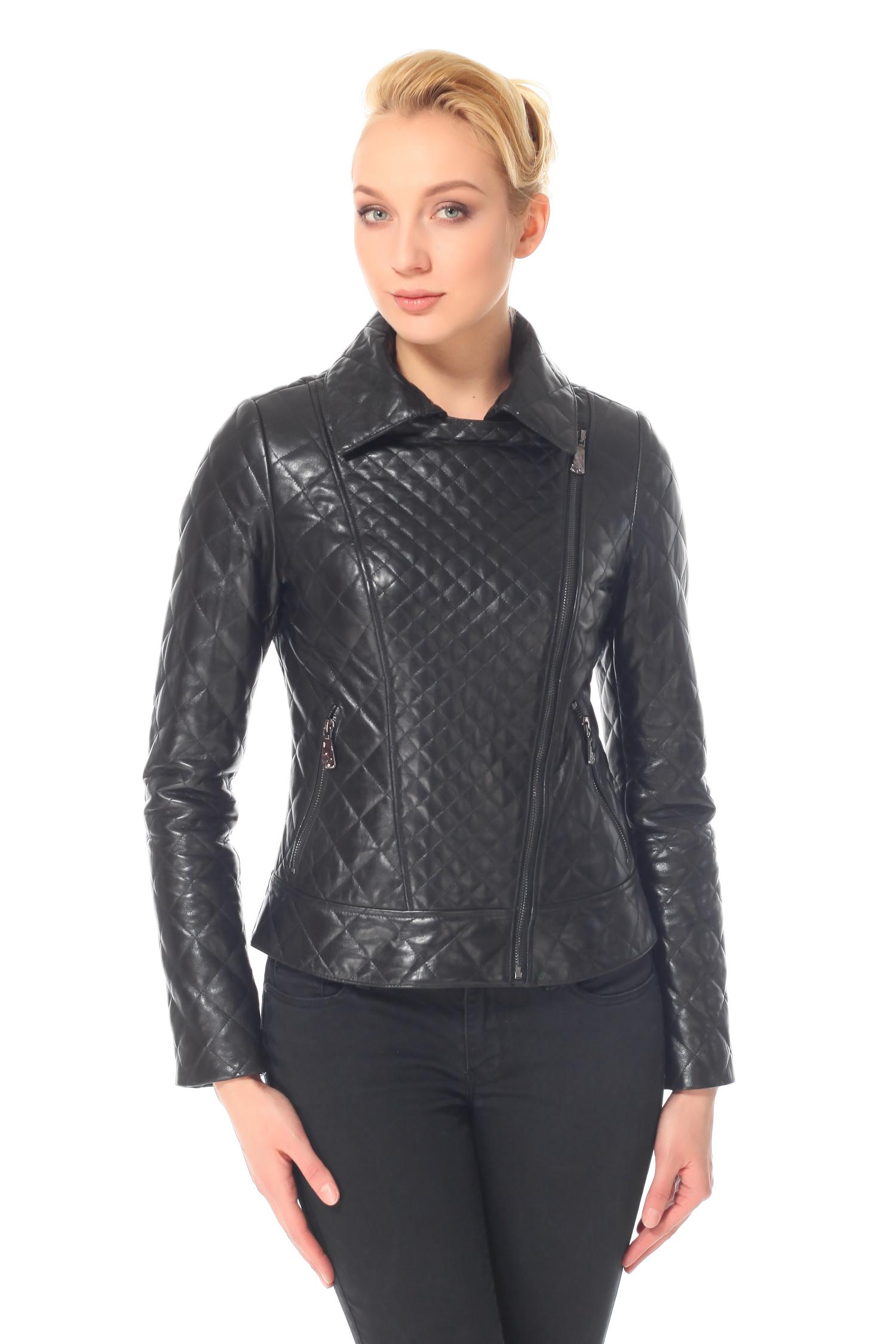 Женская кожаная куртка из натуральной кожи с воротником, без отделки<br><br>Воротник: английский<br>Длина см: Короткая (51-74 )<br>Материал: Кожа овчина<br>Цвет: черный<br>Пол: Женский<br>Размер RU: 54