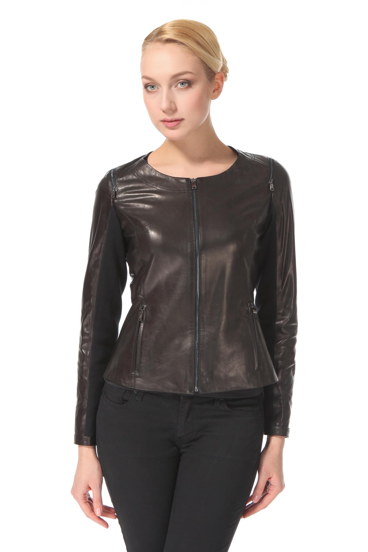 Женская кожаная куртка из натуральной кожи, без отделки<br><br>Длина см: Короткая (51-74 )<br>Материал: Кожа овчина<br>Цвет: черный<br>Пол: Женский<br>Размер RU: 50