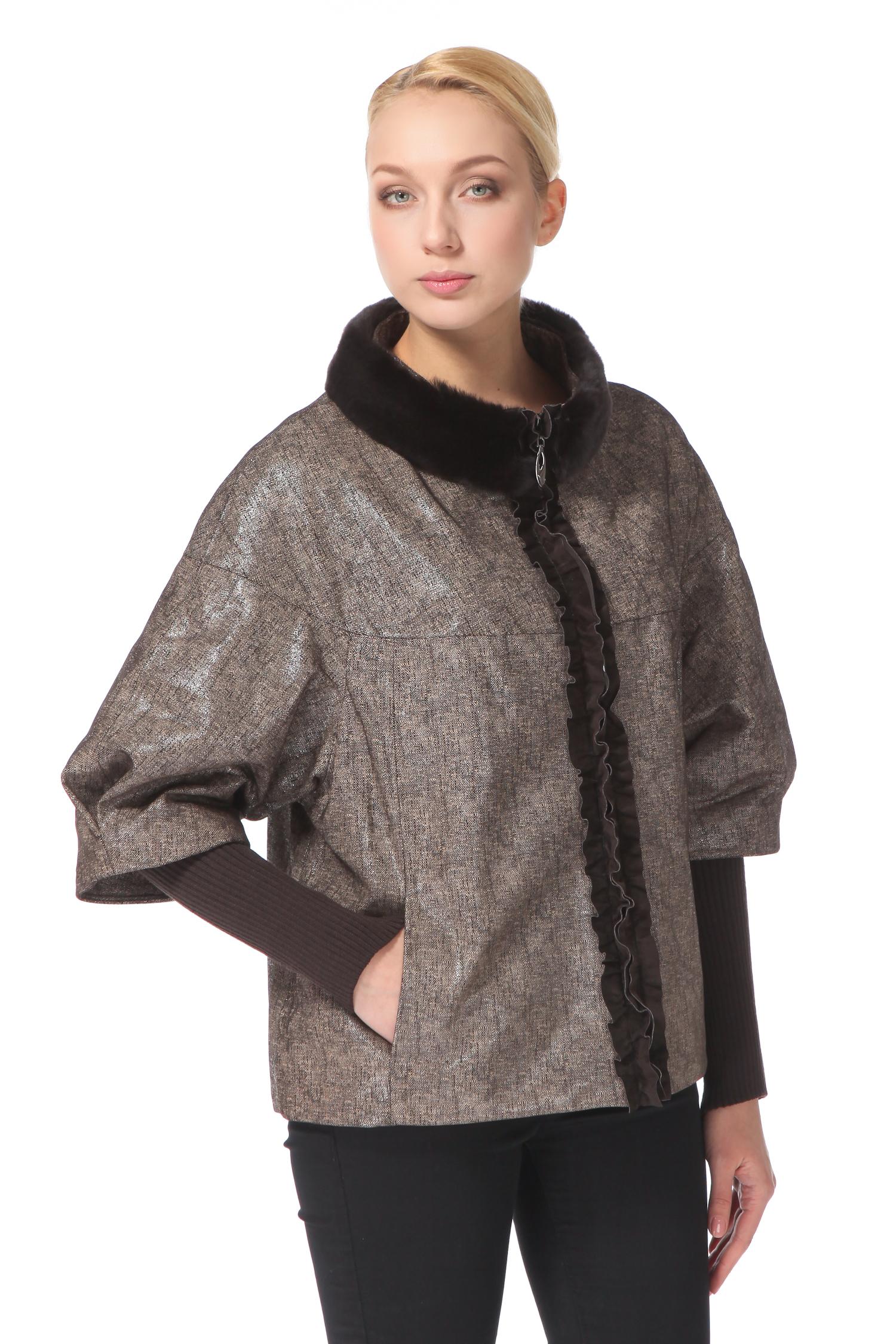 Женская кожаная куртка из натуральной замши (с накатом) с воротником, отделка кролик