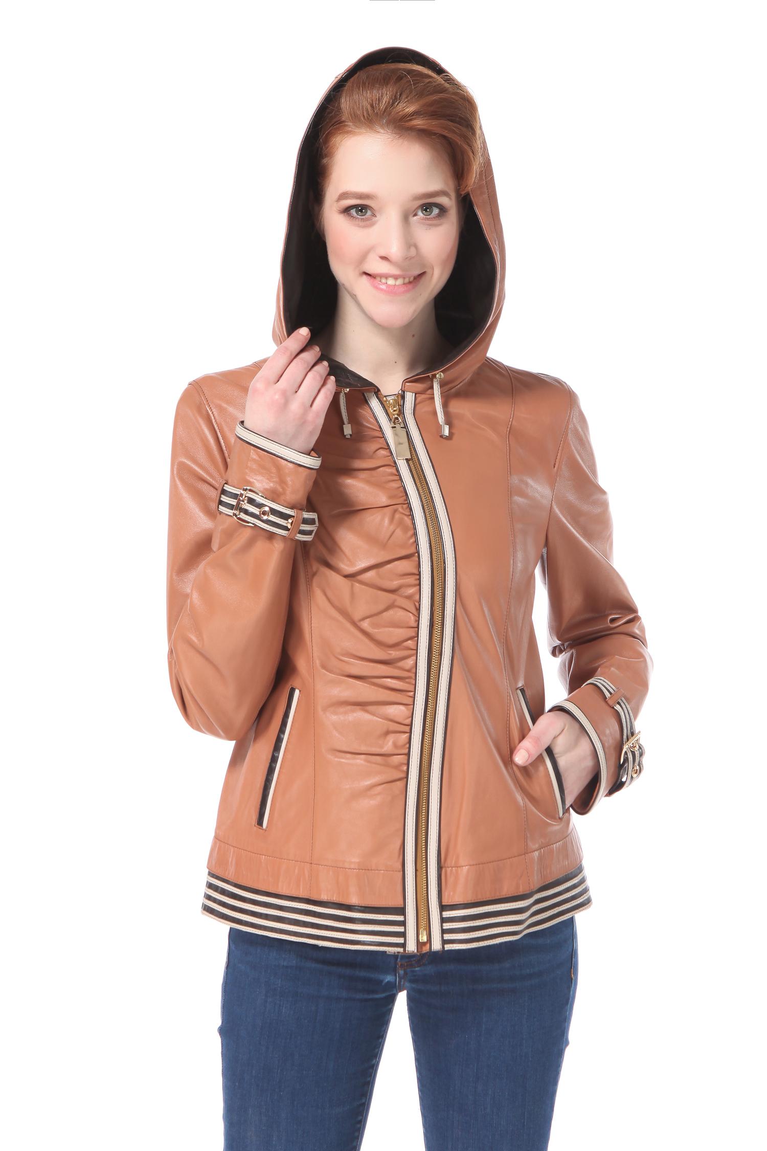 Женская кожаная куртка из натуральной кожи с капюшоном, без отделки<br><br>Длина см: 60<br>Материал: Натуральная кожа<br>Цвет: Бежевый/коричневый<br>Пол: Женский