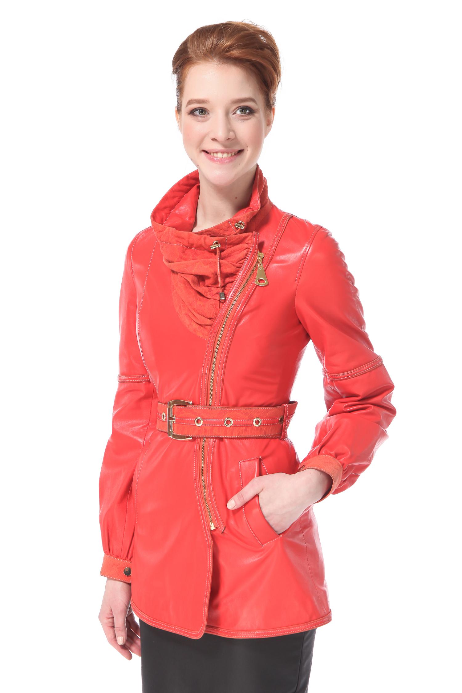 Женская кожаная куртка из натуральной кожи с воротником, без отделки<br><br>Длина см: 75<br>Материал: Натуральная кожа<br>Цвет: Коралл<br>Пол: Женский