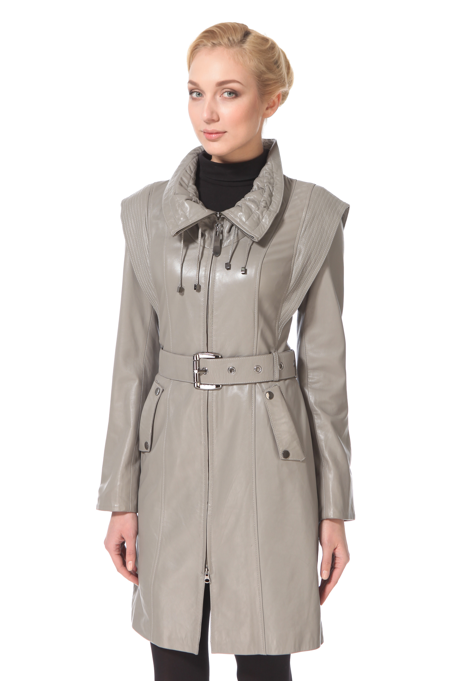Пальто женское из натуральной кожи с воротником, без отделкиБлагодаря оригинальности дизайна иизысканному серому цвету, это эффектное кожаное пальто по достоинству оценят как поклонницы стиля casual, так и классического стиля. Полуприлегающий силуэт, центральная застежка -молния, отложной воротник необычного дизайна на кулисках - отличное сочетание комфорта и смелого дизайна. Пальто дополнено поясом с металлической пряжкой.<br><br>Материал: Натуральная кожа<br>Цвет: Серый<br>Пол: Женский