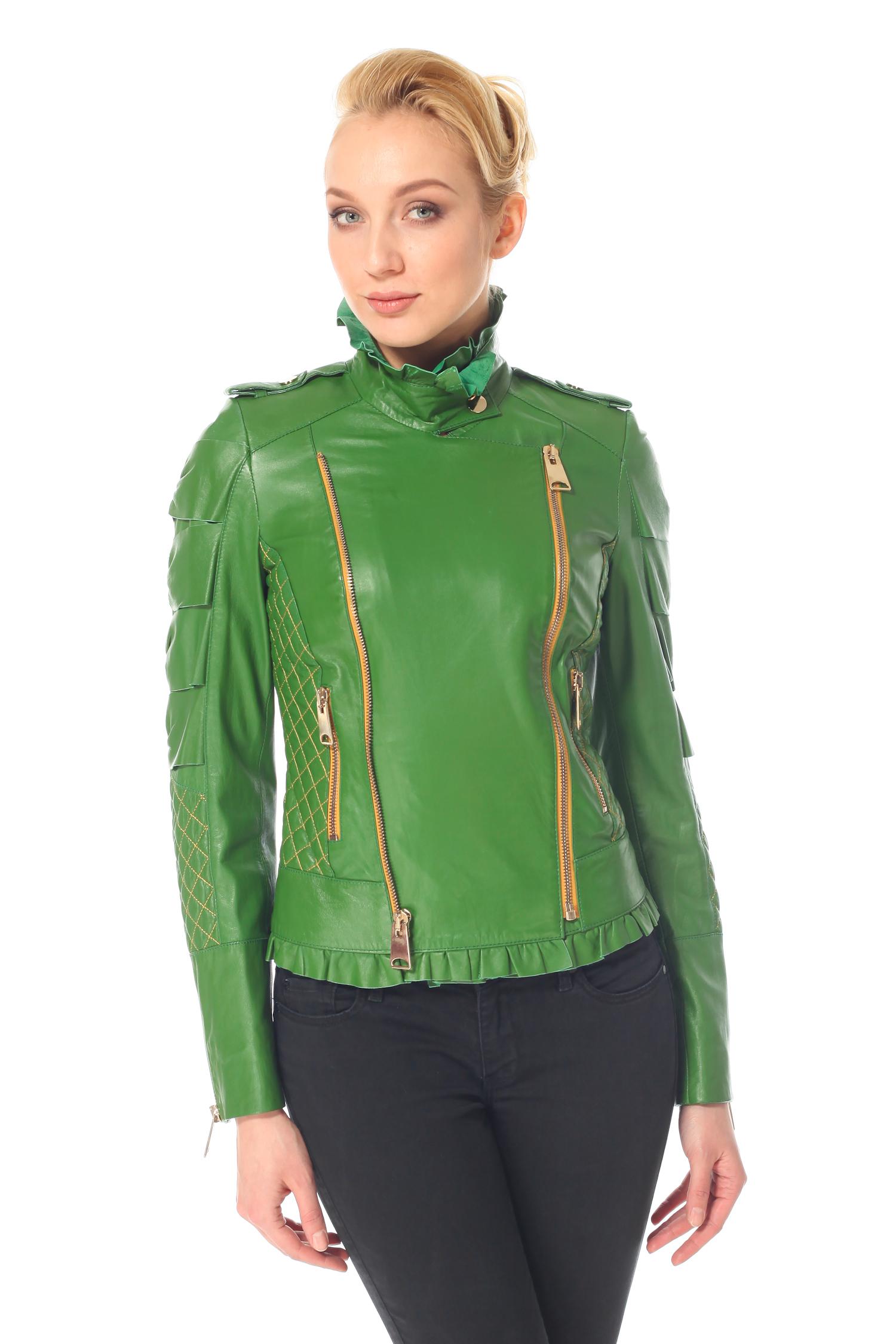 Женская кожаная куртка из натуральной кожи с воротником, без отделки<br><br>Воротник: Стойка<br>Длина см: 60<br>Материал: Натуральная кожа<br>Цвет: Зеленый<br>Пол: Женский