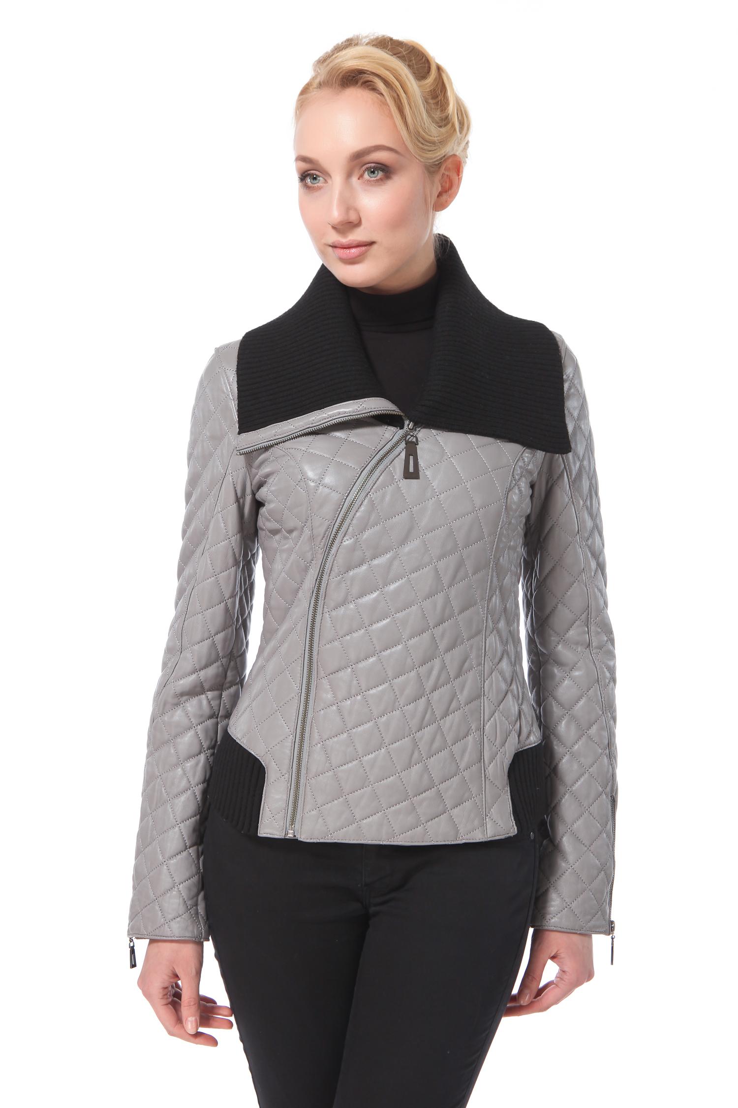Женская кожаная куртка из натуральной кожи с воротником, без отделки<br><br>Материал: Натуральная кожа<br>Цвет: Серый<br>Пол: Женский