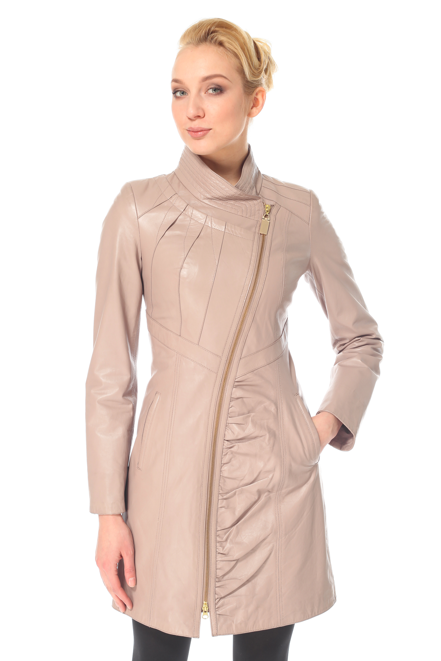 Женское кожаное пальто из натуральной кожи с воротником, без отделки<br><br>Воротник: Стойка<br>Длина см: 85<br>Материал: Натуральная кожа<br>Цвет: Розовый<br>Пол: Женский