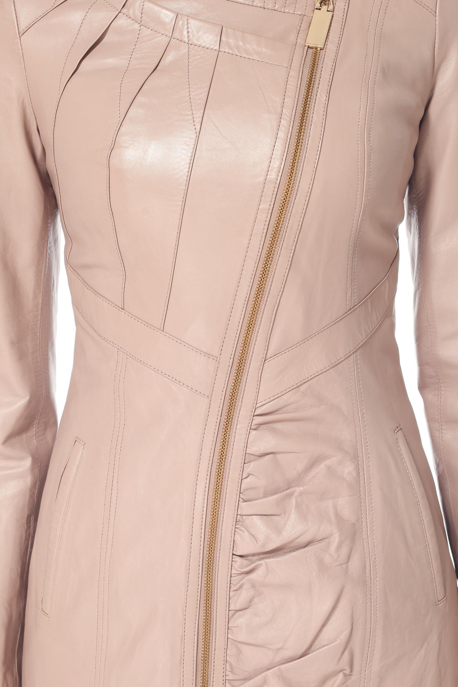 Женское кожаное пальто из натуральной кожи с воротником, без отделки от Московская Меховая Компания