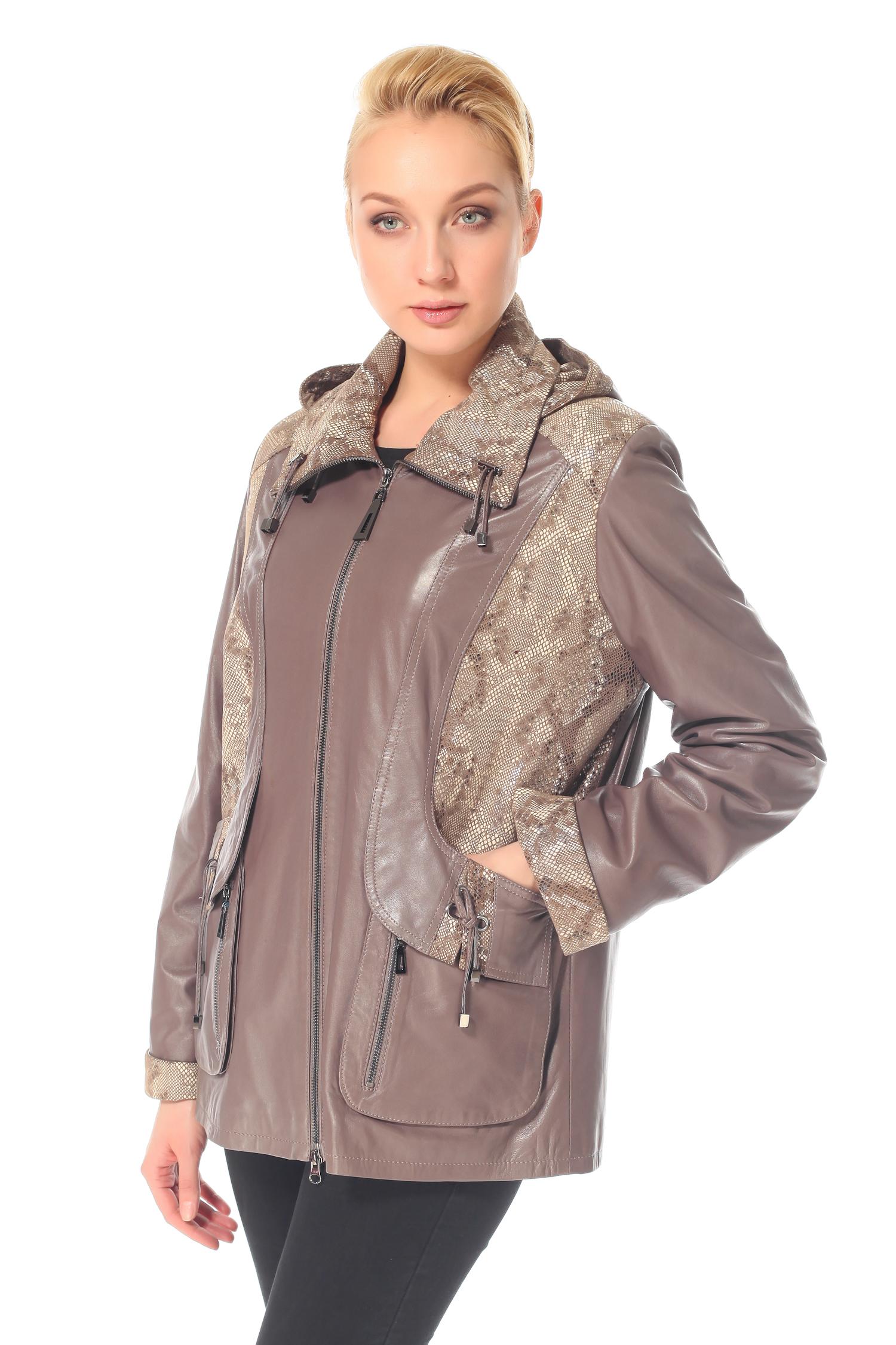 Женская кожаная куртка из натуральной кожи с капюшоном, без отделки<br><br>Воротник: Капюшон<br>Длина см: 70<br>Материал: Натуральная кожа<br>Цвет: Бежевый<br>Пол: Женский