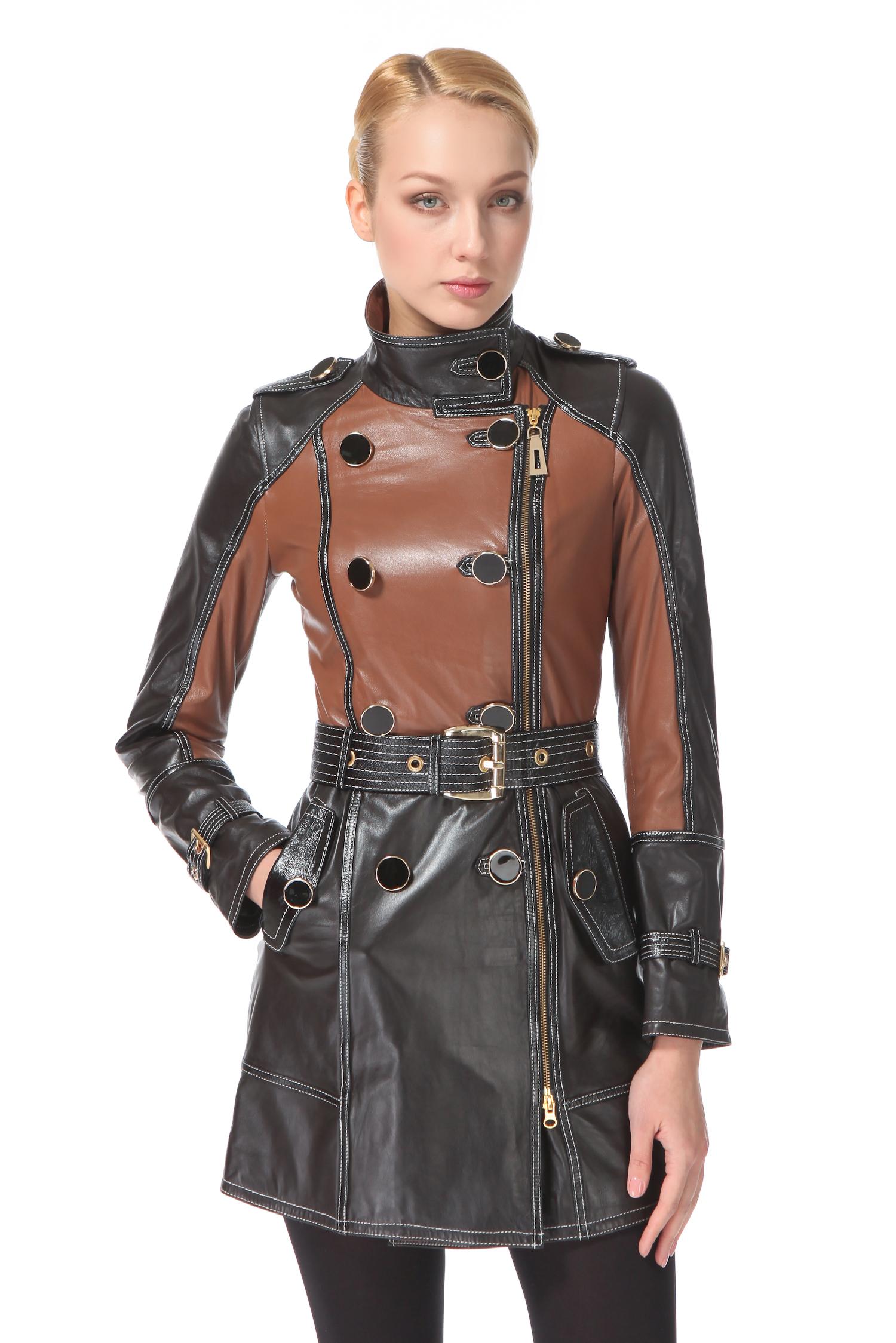 Женское кожаное пальто из натуральной кожи с воротником, без отделки<br><br>Воротник: Стойка<br>Длина см: 80<br>Материал: Натуральная кожа<br>Цвет: Коричневый<br>Пол: Женский