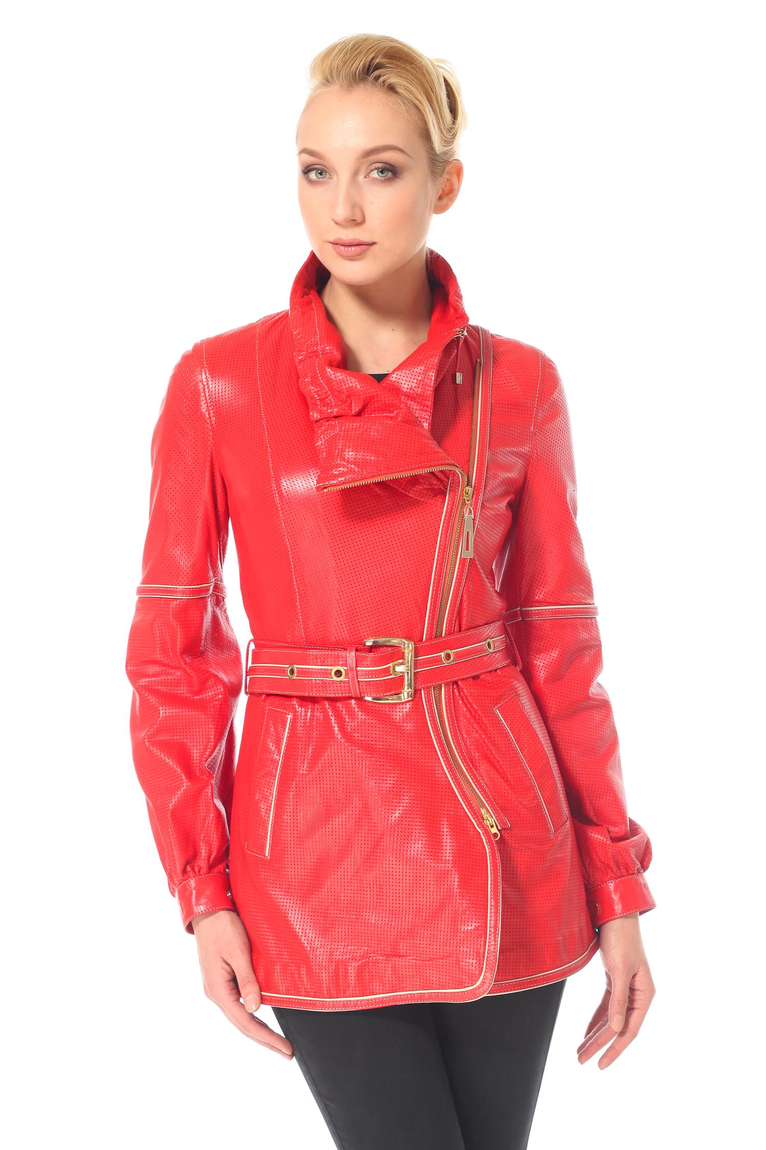 Женская кожаная куртка из натуральной кожи с воротником, без отделки<br><br>Воротник: Оригинальный<br>Длина см: 75<br>Материал: Плонже/перфорация<br>Цвет: Коралл<br>Пол: Женский