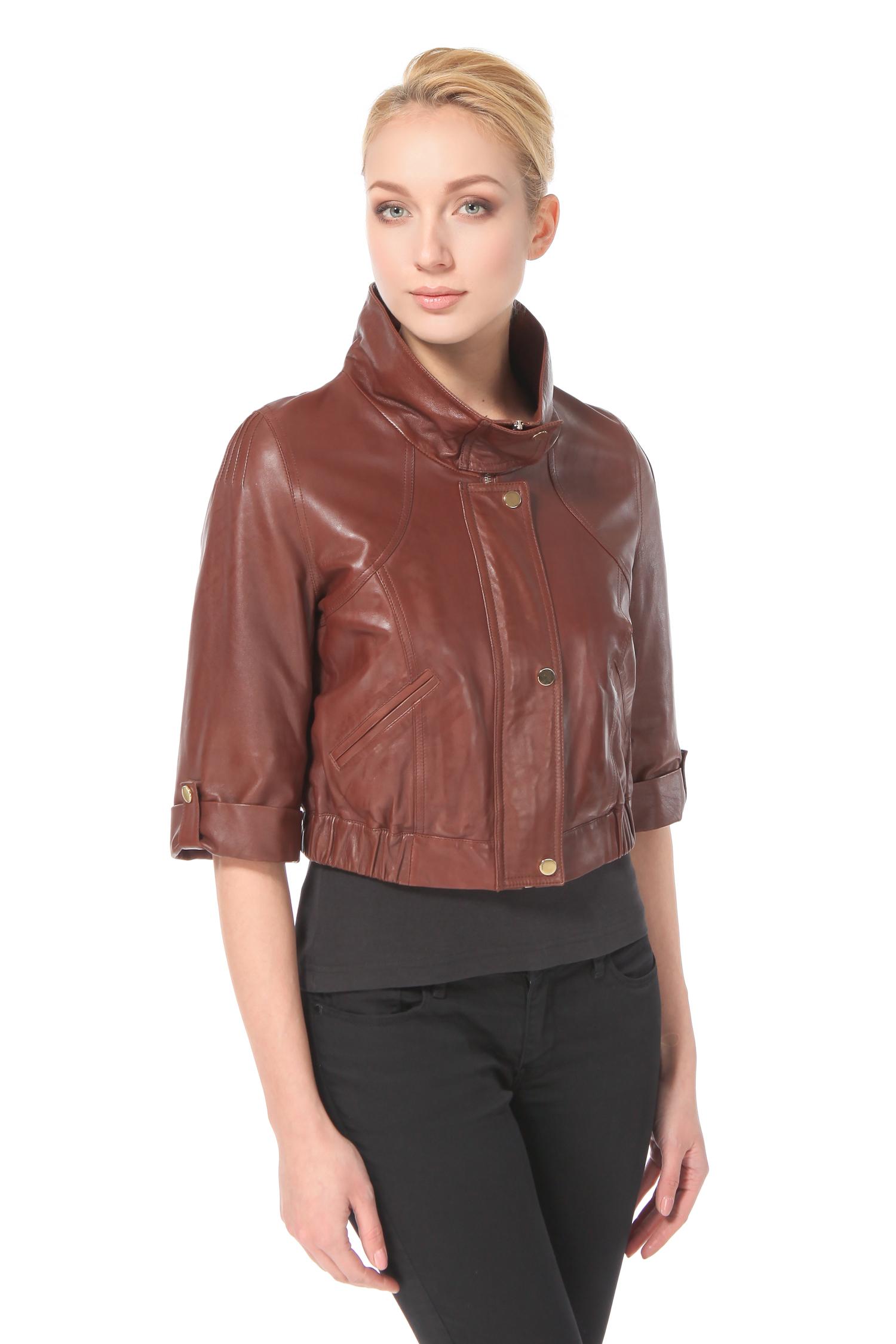 Женская кожаная куртка из натуральной кожи с воротником, без отделки<br><br>Воротник: стойка<br>Длина см: Ультра короткая (менее 50 )<br>Материал: Кожа овчина<br>Цвет: коричневый<br>Пол: Женский<br>Размер RU: 48