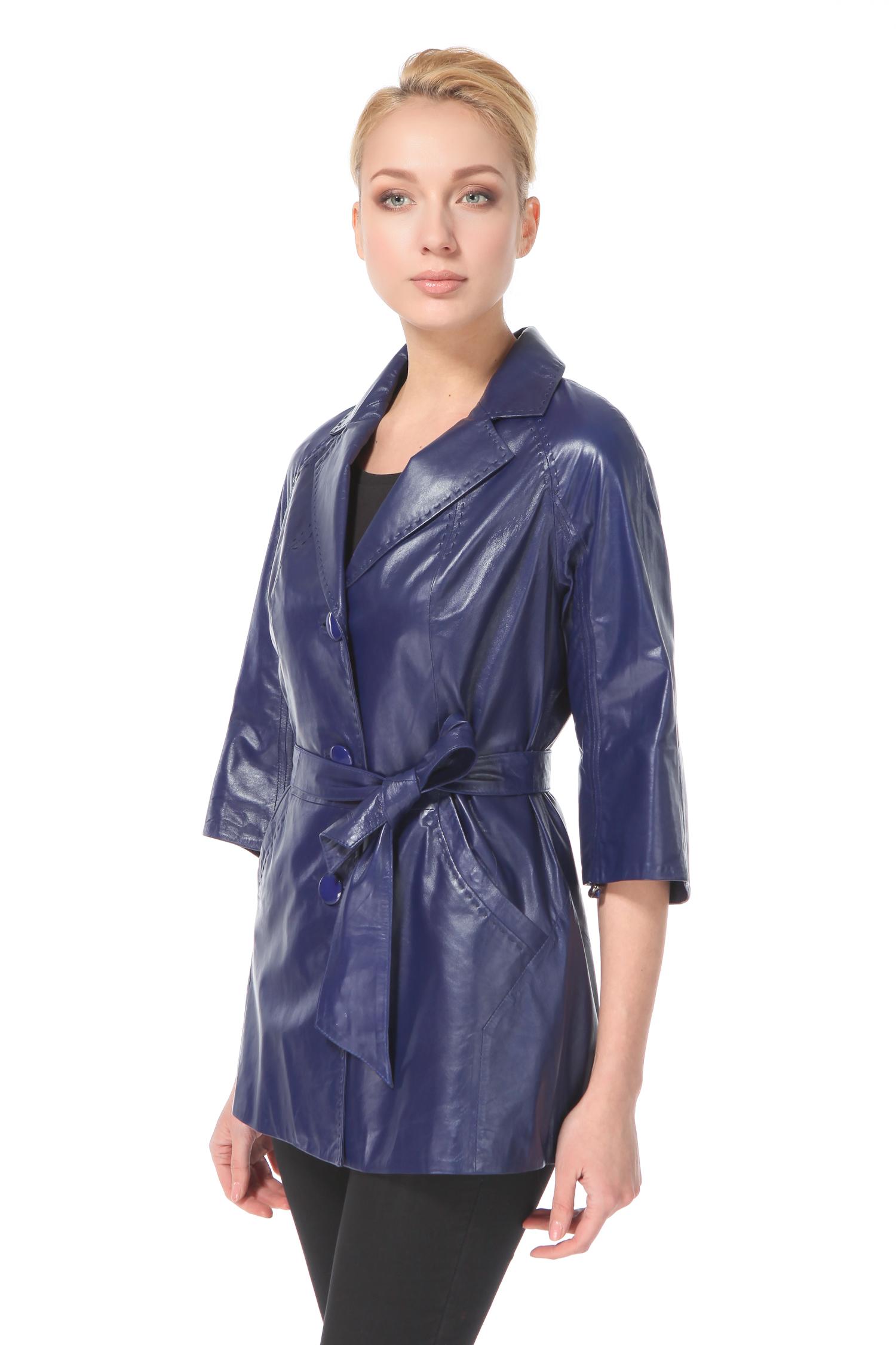 Женская кожаная куртка из натуральной кожи с воротником, без отделки<br><br>Воротник: Английский<br>Длина см: 75<br>Материал: Натуральная кожа<br>Цвет: Синий<br>Пол: Женский