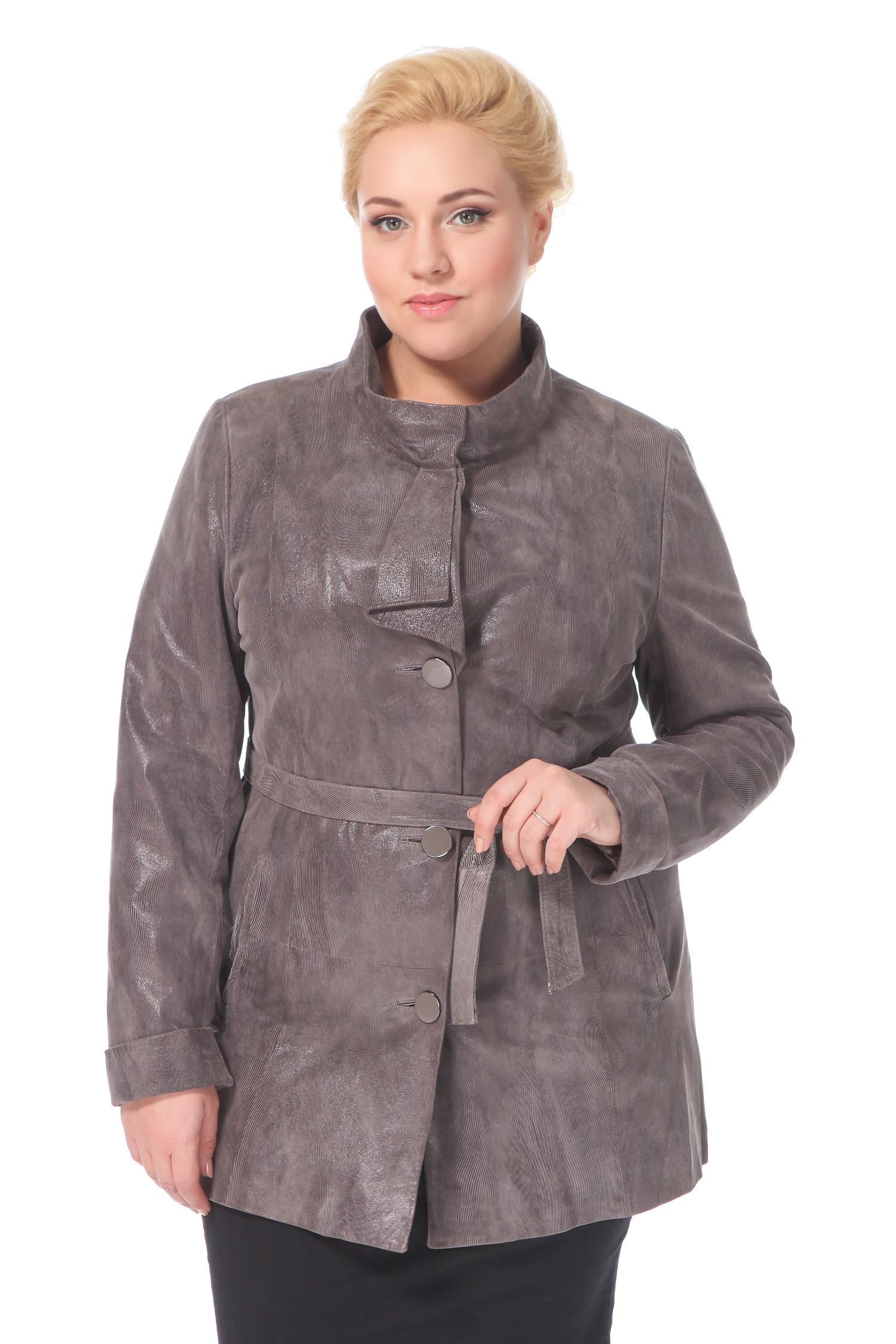 Фото 4 - Женская кожаная куртка из натуральной замши (с накатом) с воротником от МОСМЕХА бежевого цвета